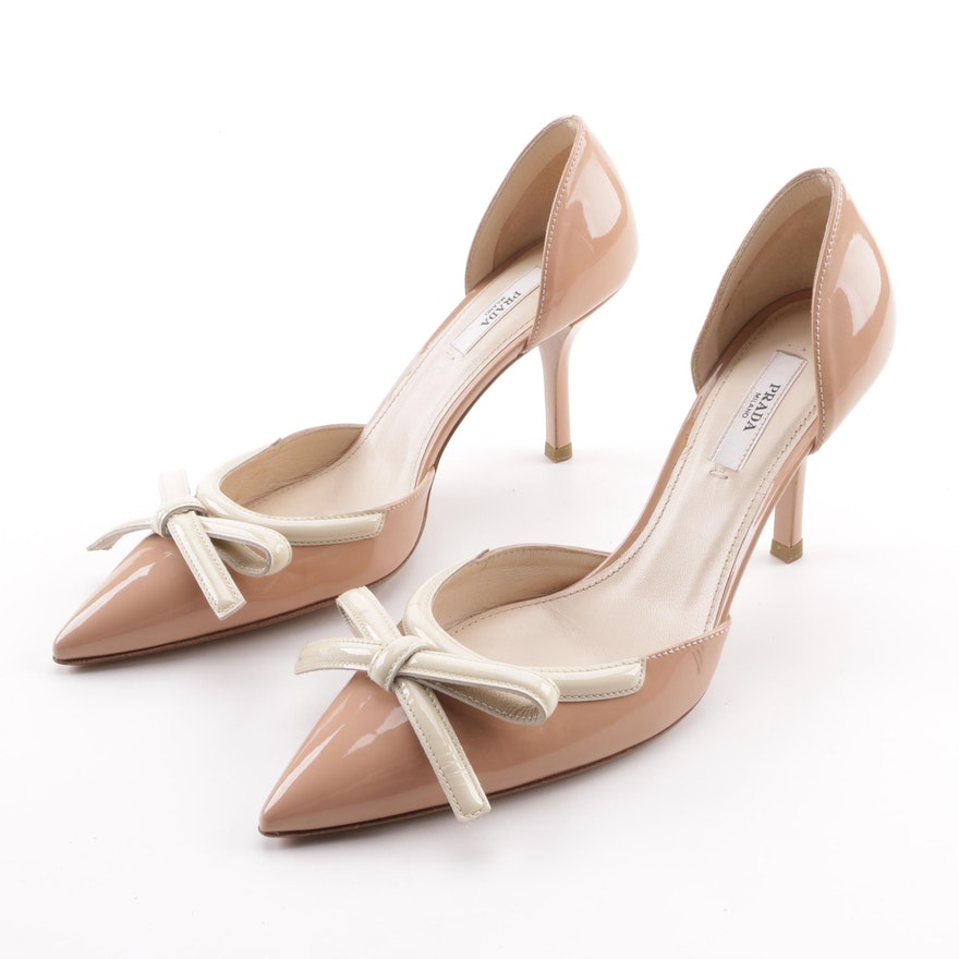 Prada Blush and Cream Patent Leather d Orsay Pumps with Bow Detail ...