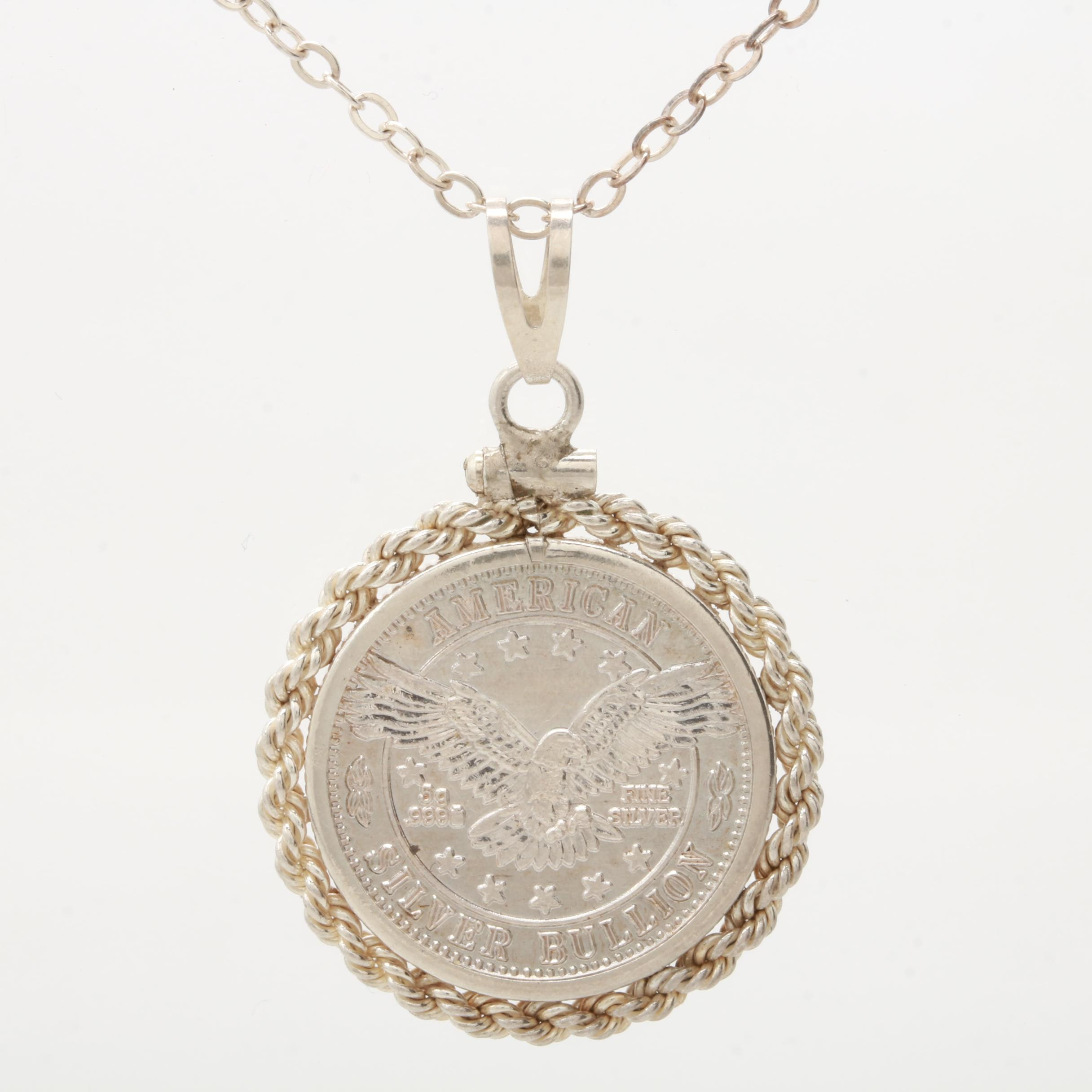 Sterling Silver and Fine Silver American Bullion Coin Necklace