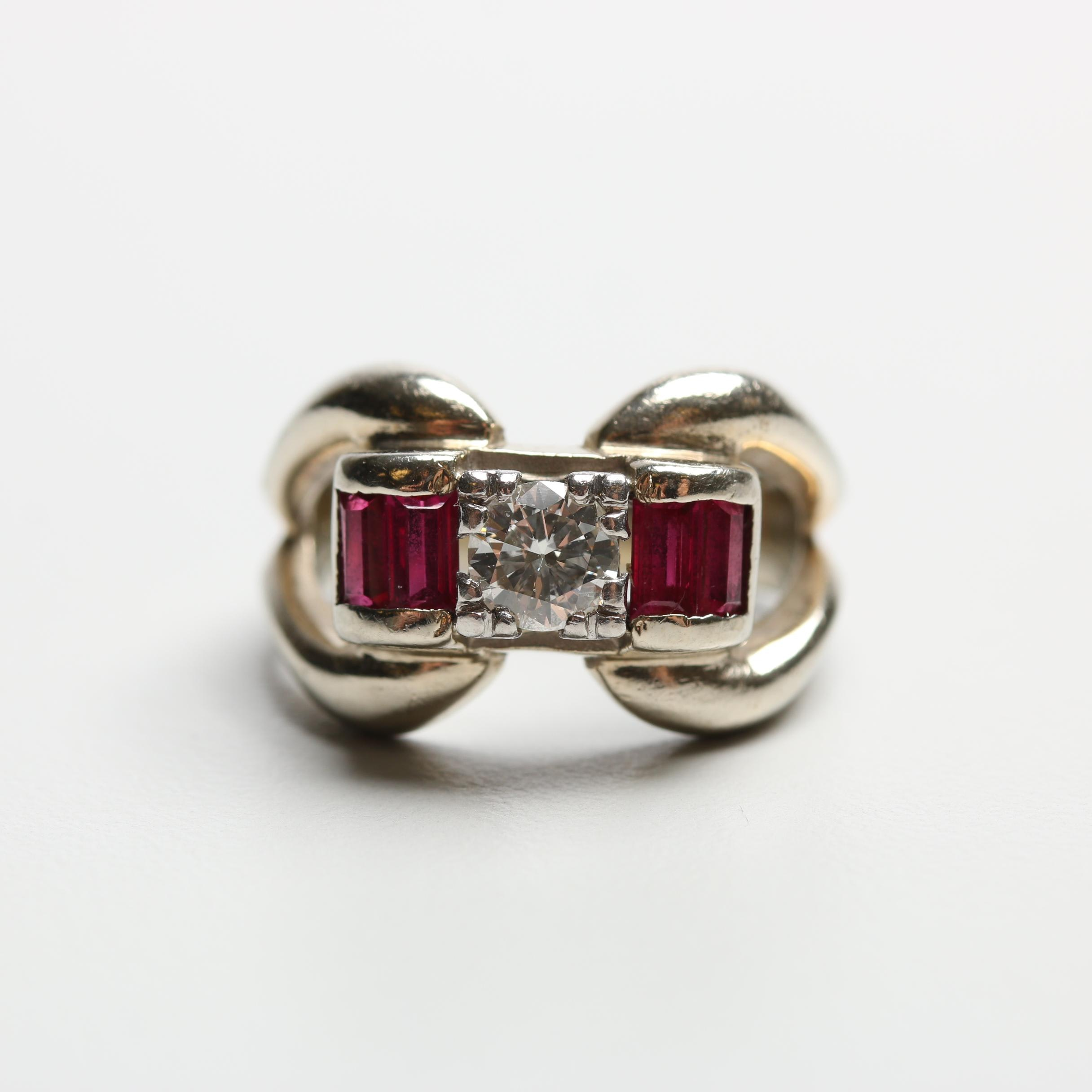 Retro 14K White Gold Diamond and Synthetic Ruby Ring with Palladium Setting