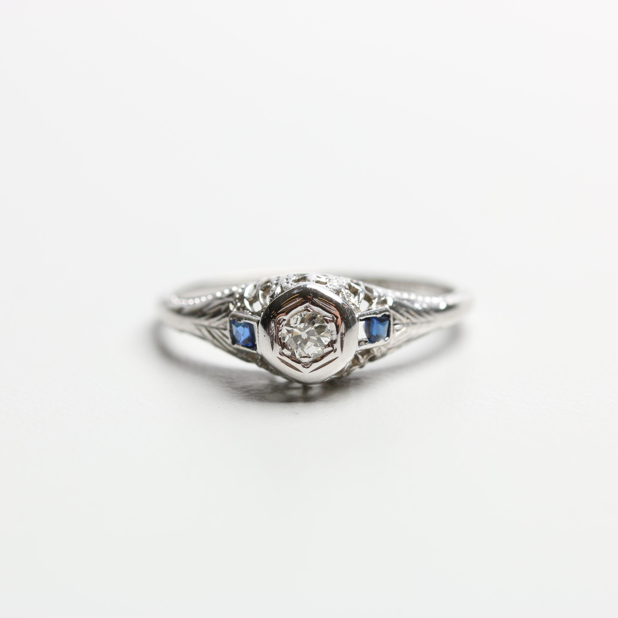 Art Deco Belais Brothers 18K White Gold Diamond and Synthetic Sapphire Ring