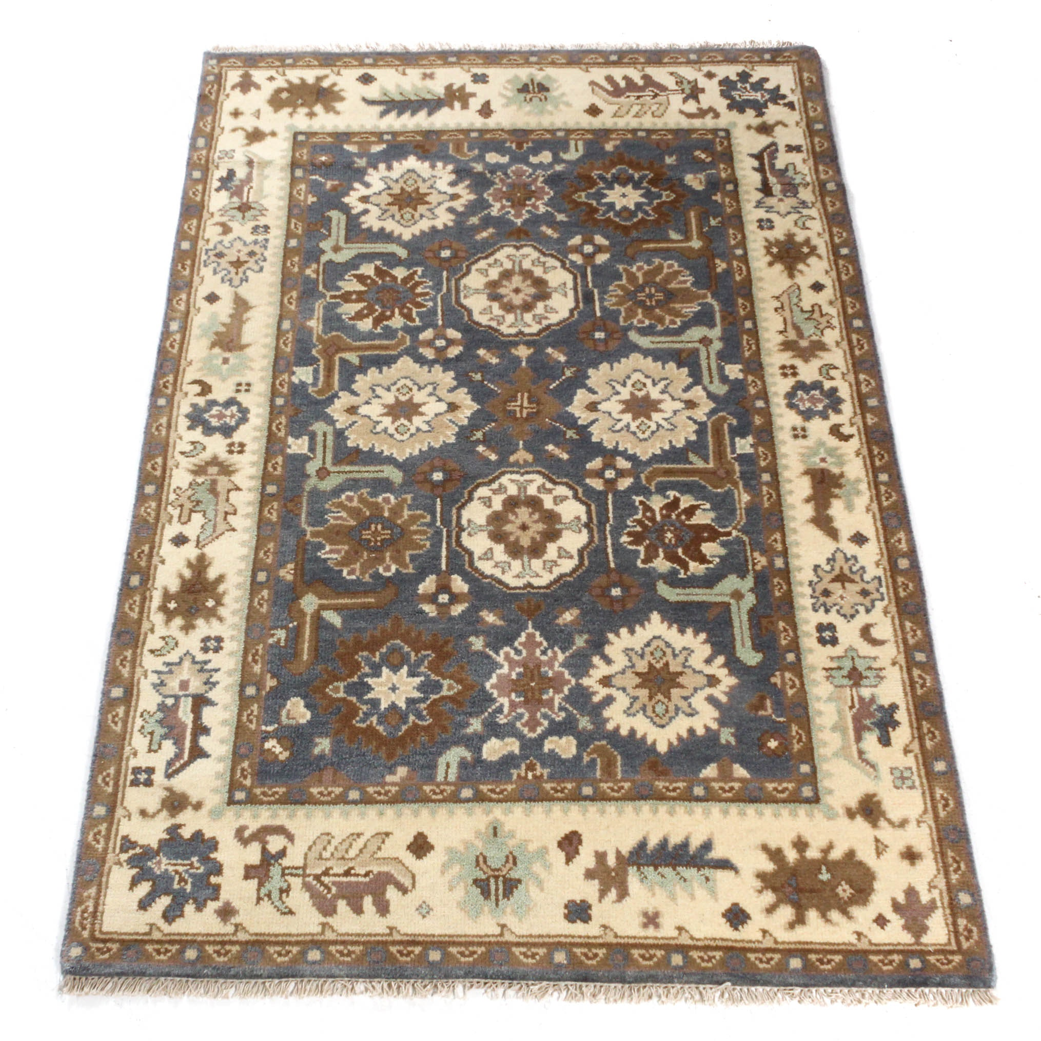 Hand-Knotted Indo-Turkish Oushak Rug