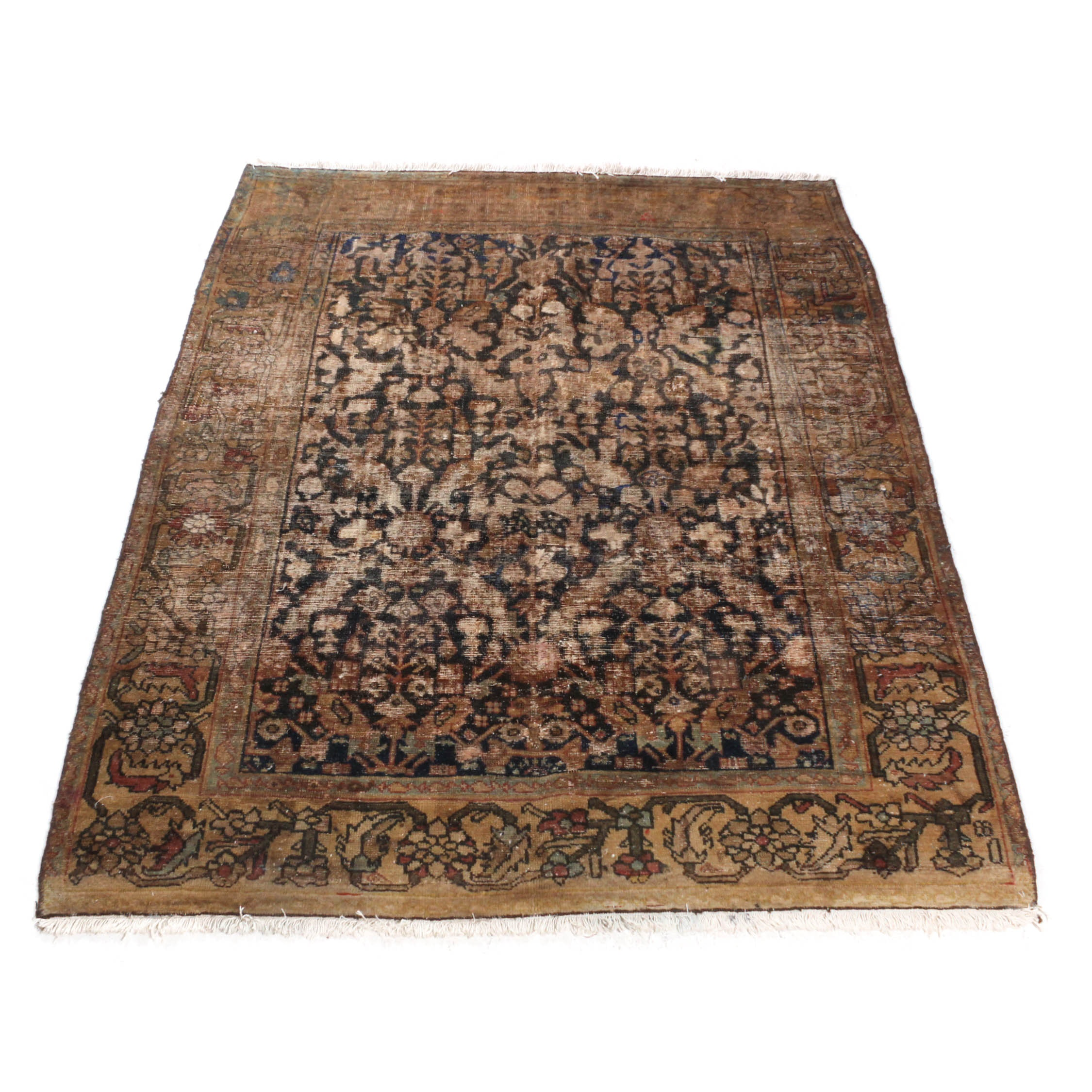 Antique Hand-Knotted Persian Malayer Rug, Circa 1910