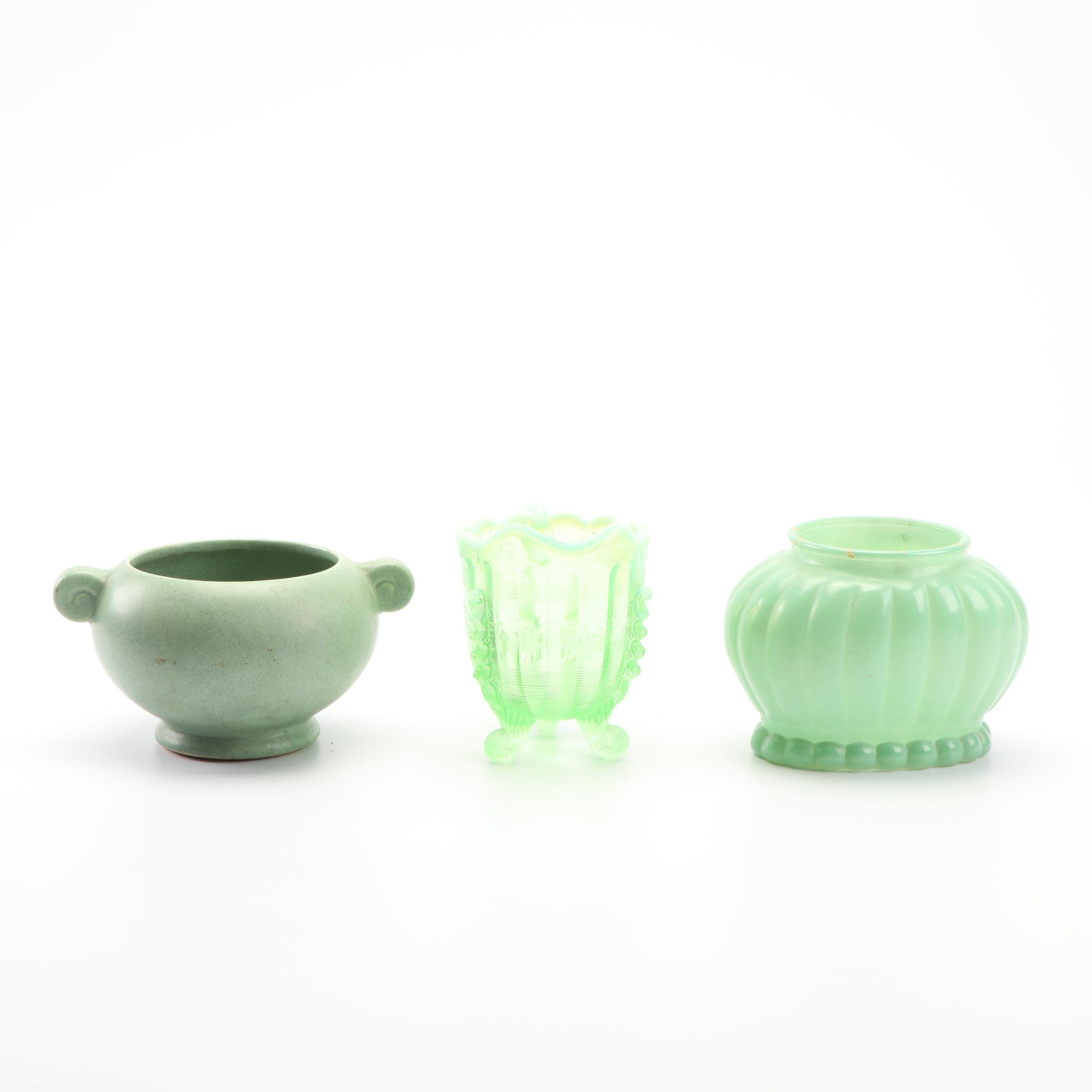 Decloedts Ceramic Planter, Depression Glass Pitcher, and Glass Planter