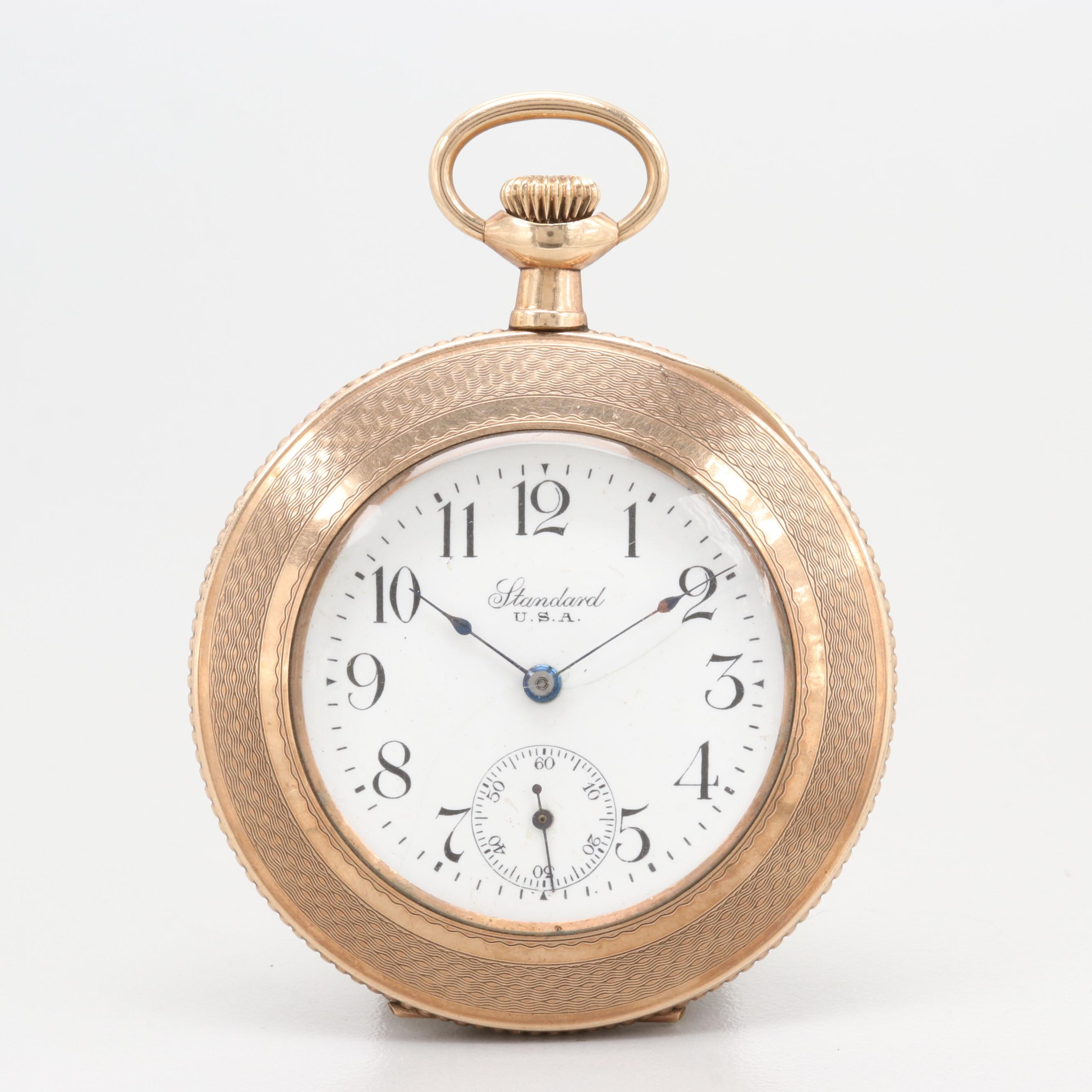 Standard U.S.A. Pocket Watch With Unique Gold Filled Case Circa 1887