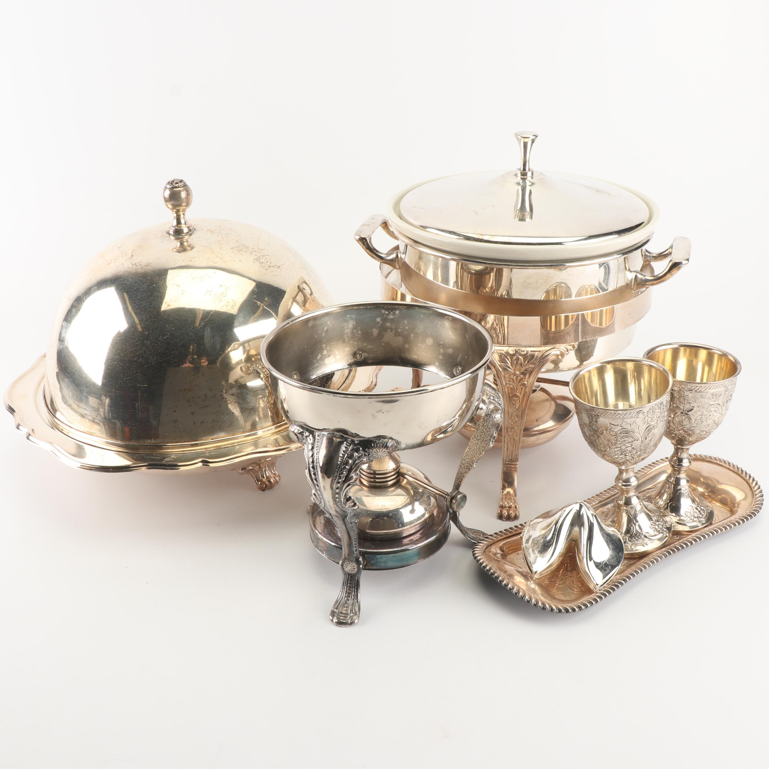 Leonard Silver Plate Chafing Dishes and Serveware with Butter Dish and More