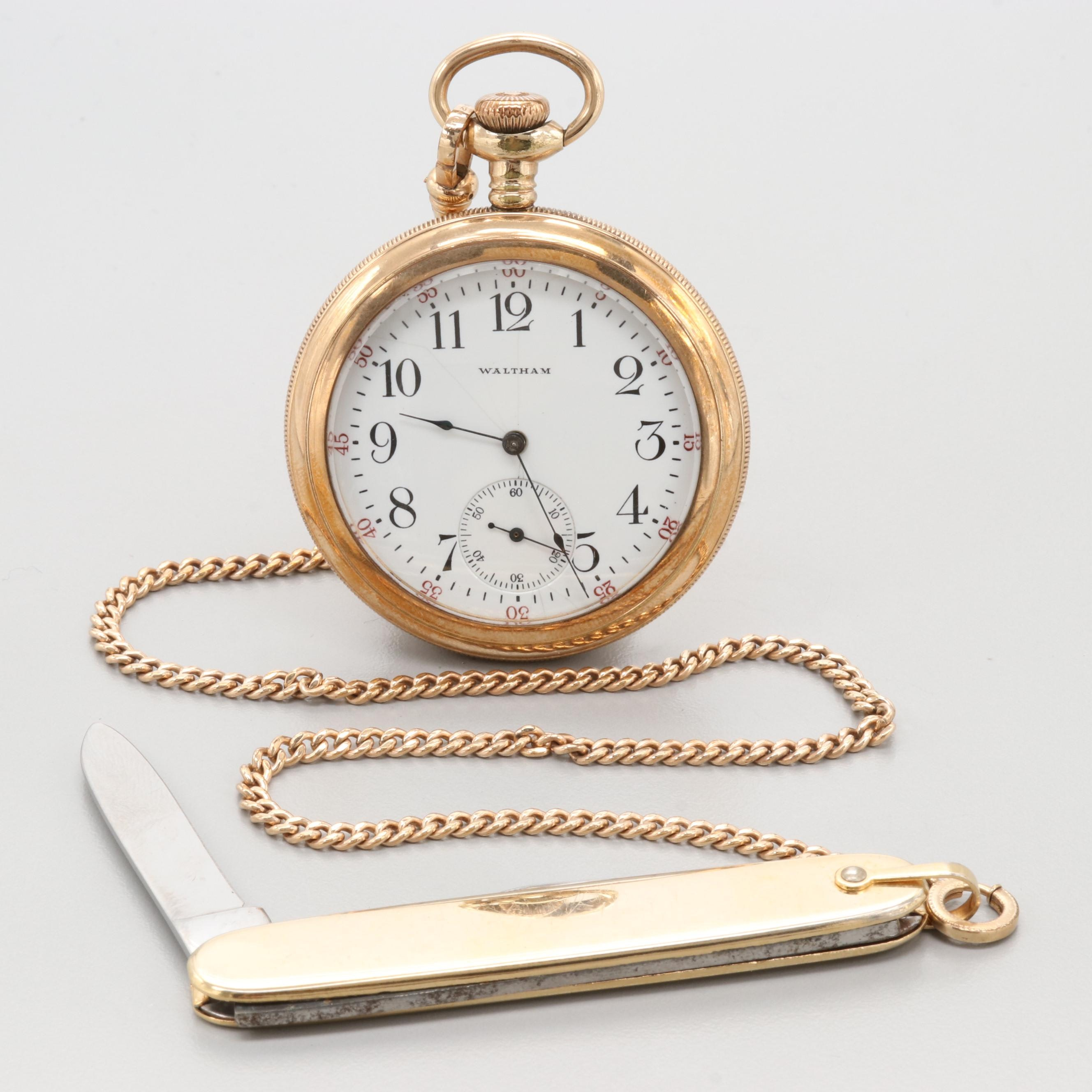 Waltham Gold Filled Pocket Watch With Pocket Knife Fob Chain 1907