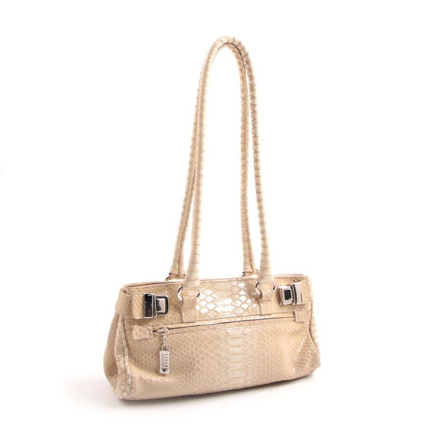 09873d7765b2 Stuart Weitzman Python Embossed Beige Leather Shoulder Bag : EBTH