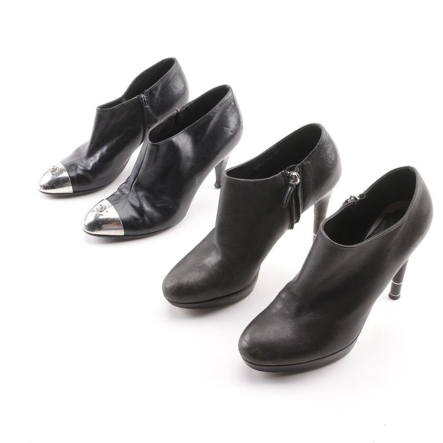 d4f405e6c33 Chanel and Christian Dior Black Leather Booties with Metal Accents ...