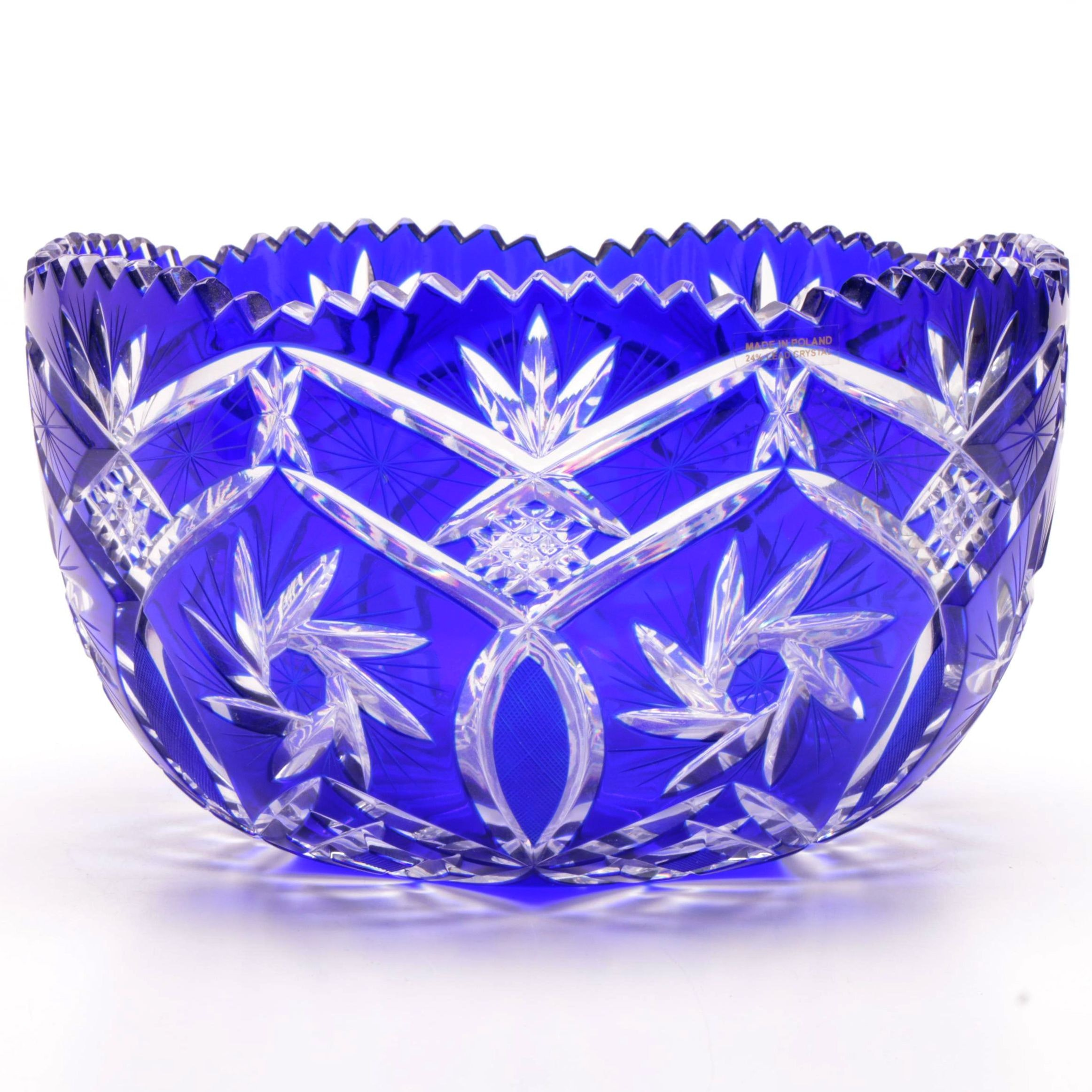 Cobalt Blue Cased Cut to Clear Crystal Center Bowl