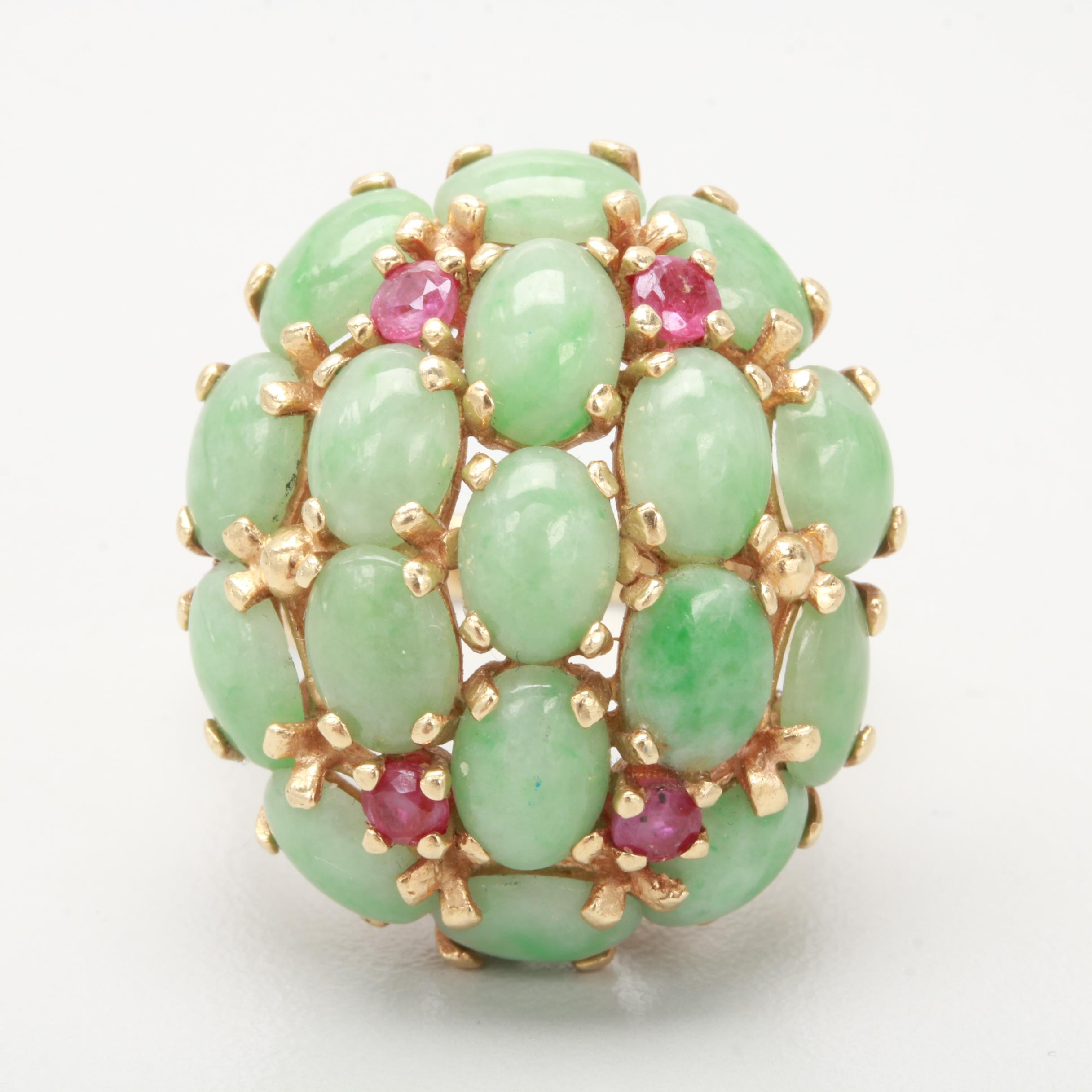 14K Yellow Gold Ruby and Jadeite Cluster Ring
