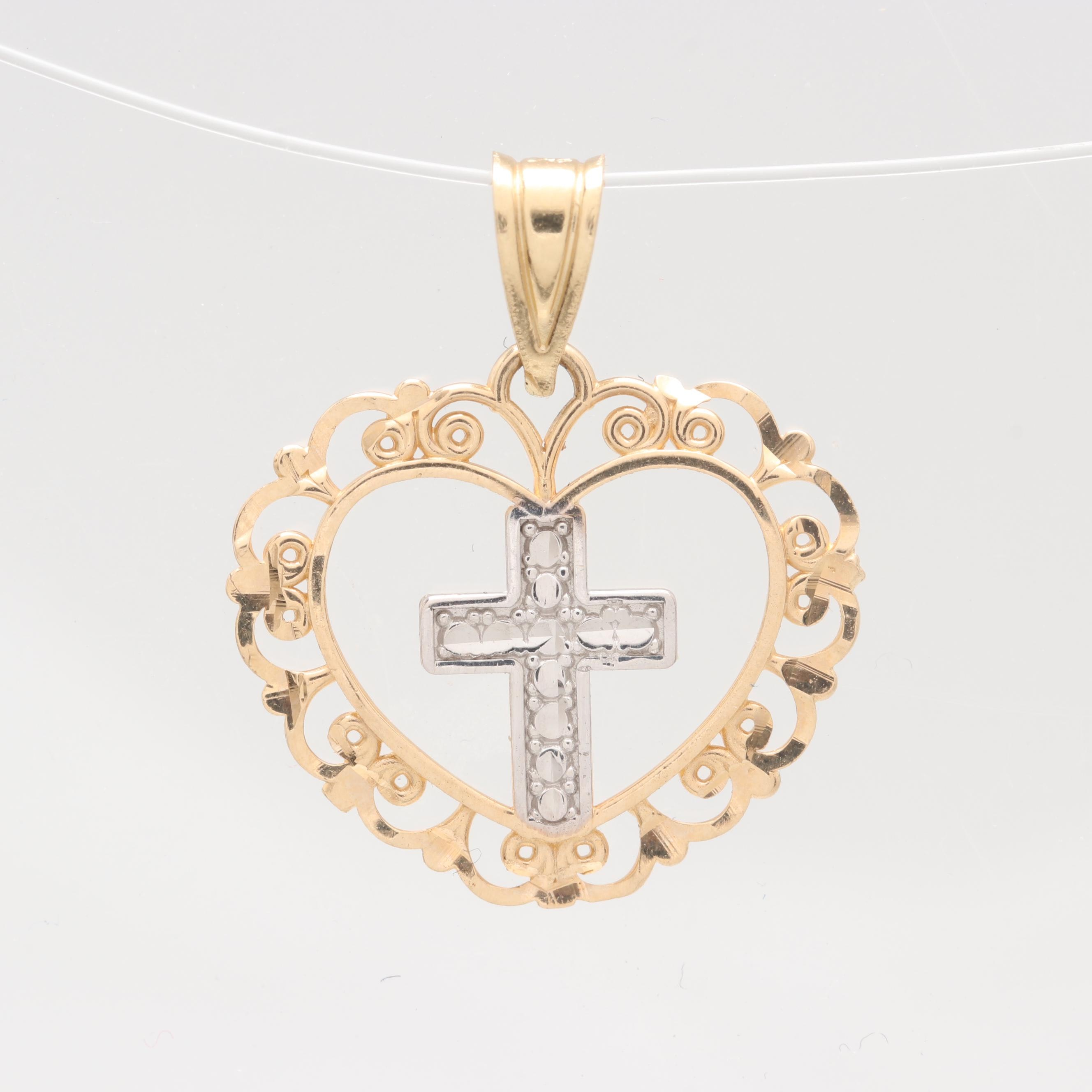 Michael Anthony 14K Yellow Gold Heart and Cross Pendant