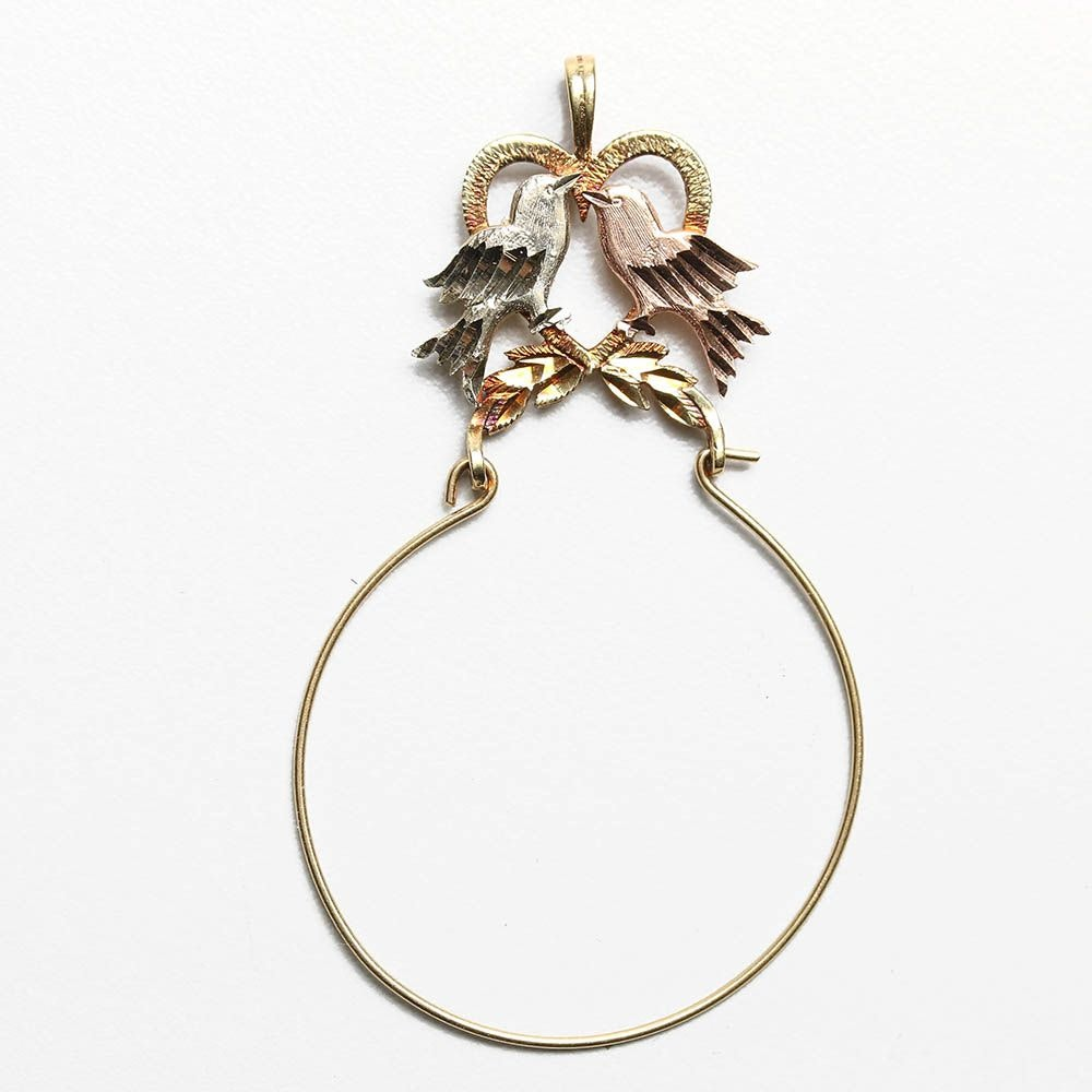 14K Yellow Gold Pendant with Rose Accents