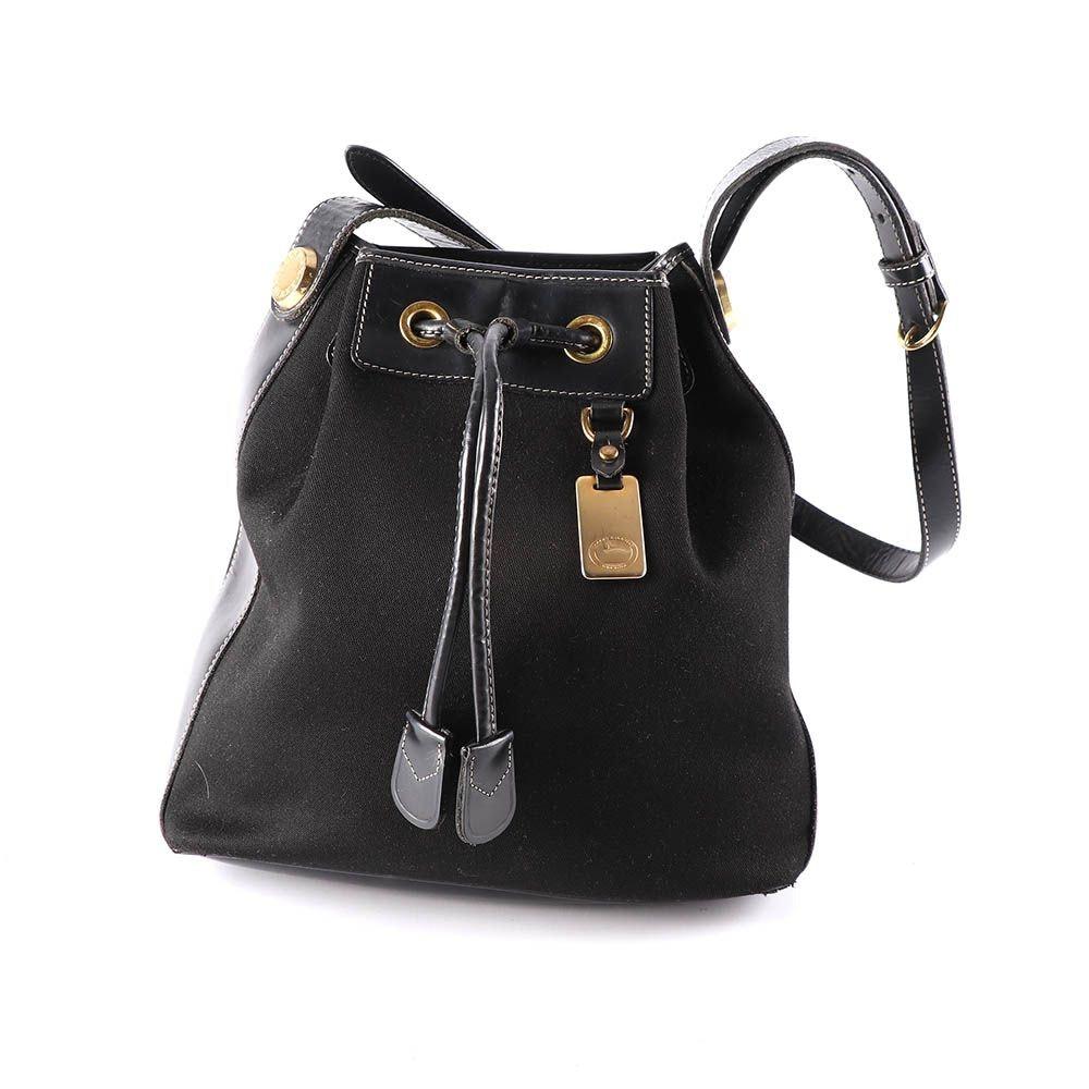 Dooney & Bourke Black Canvas and Leather Drawstring Bucket Bag