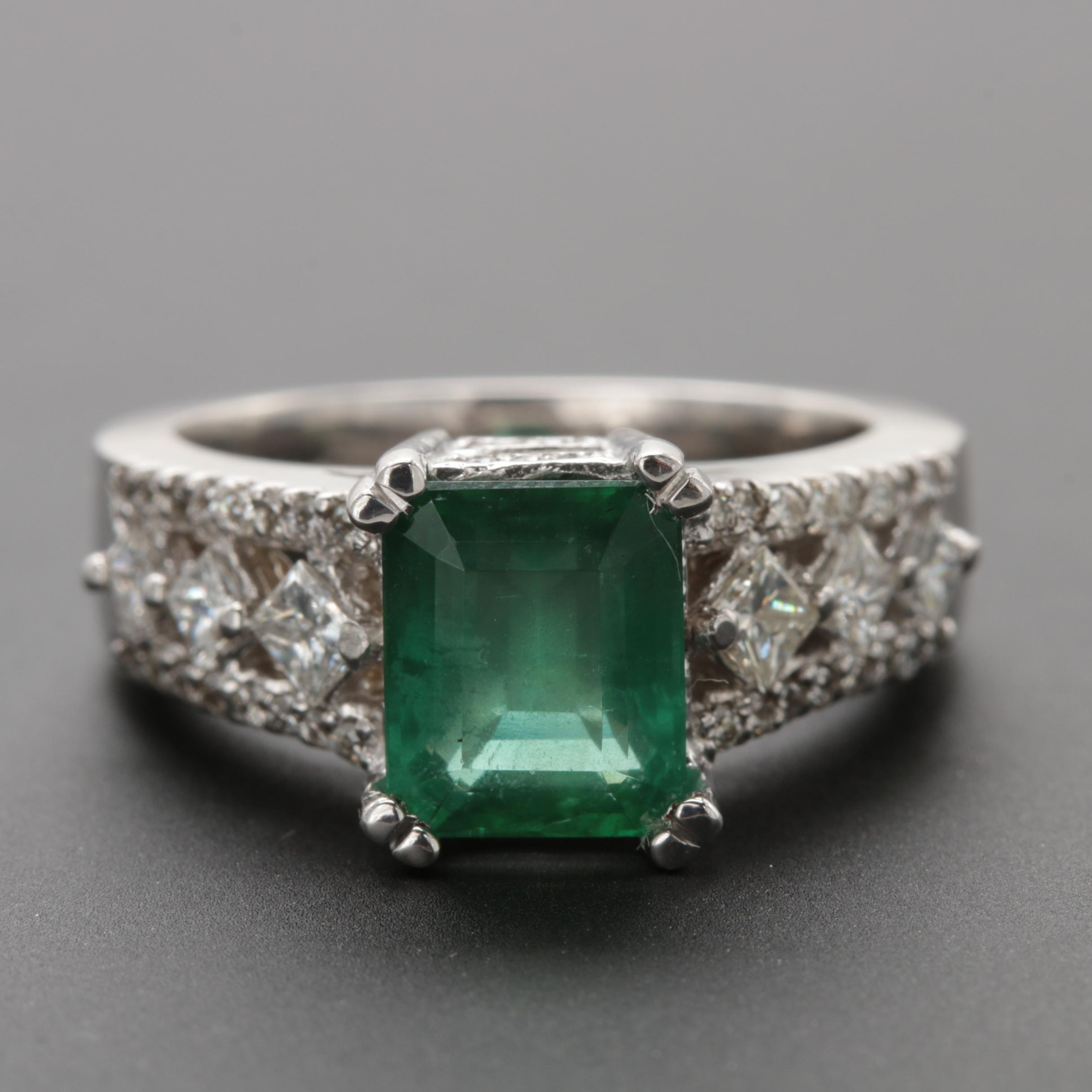 14K White Gold 1.91 CT Emerald and Diamond Ring