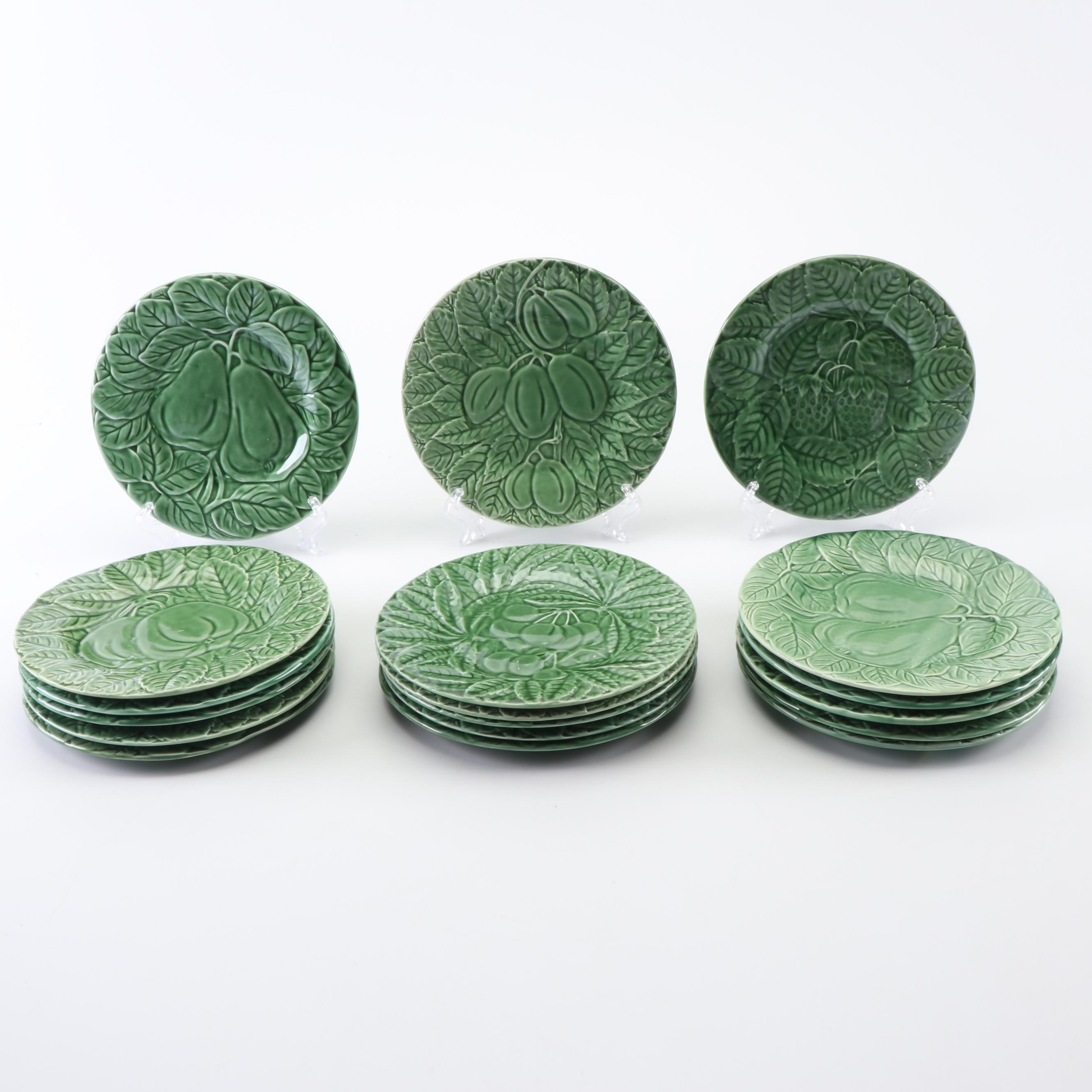 Bordallo Pinheiro Green Fruit Motif Majolica Salad Plates