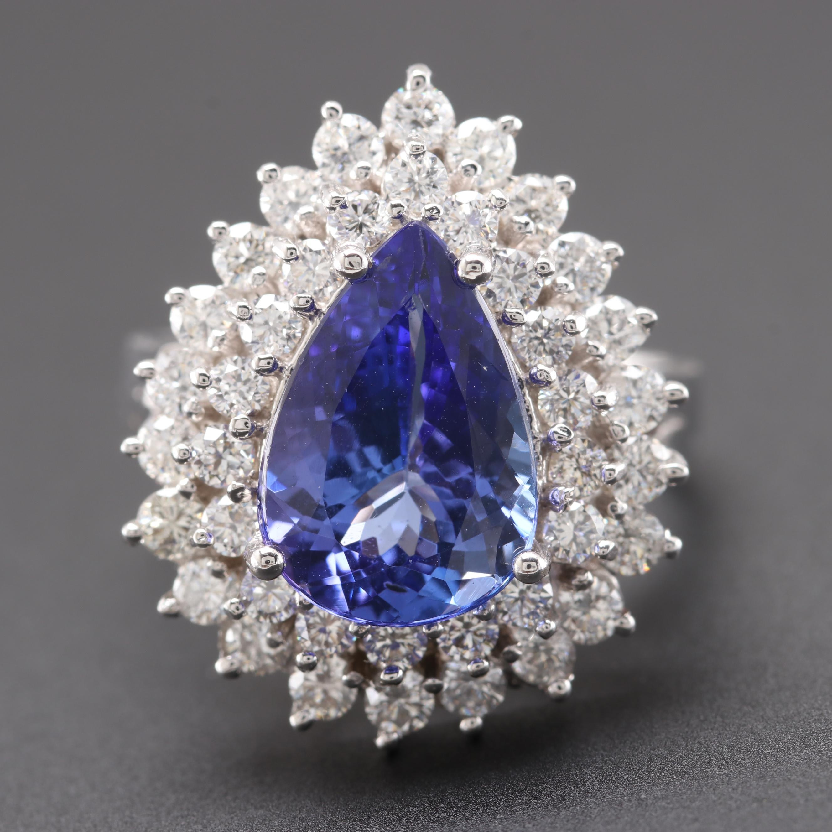14K White Gold 3.65 CT Tanzanite and 1.42 CTW Diamond Ring