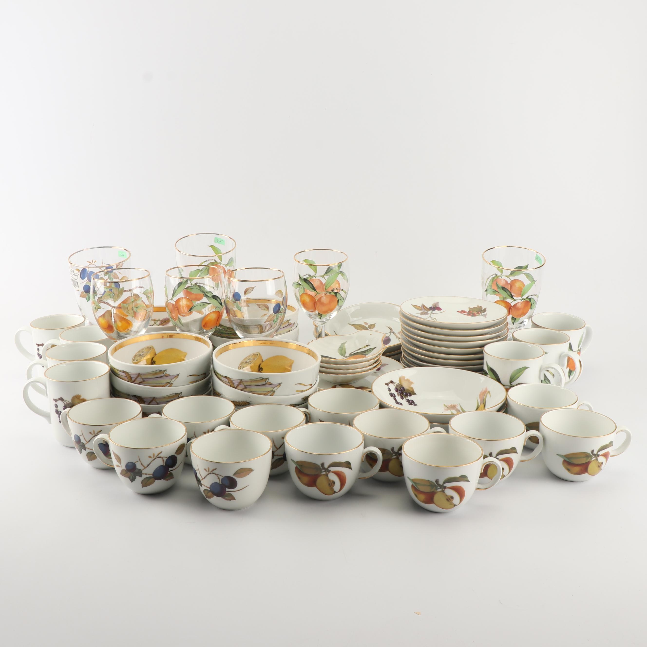 "Royal Worcester ""Evesham"" Porcelain Dinnerware and Glass Stemware"