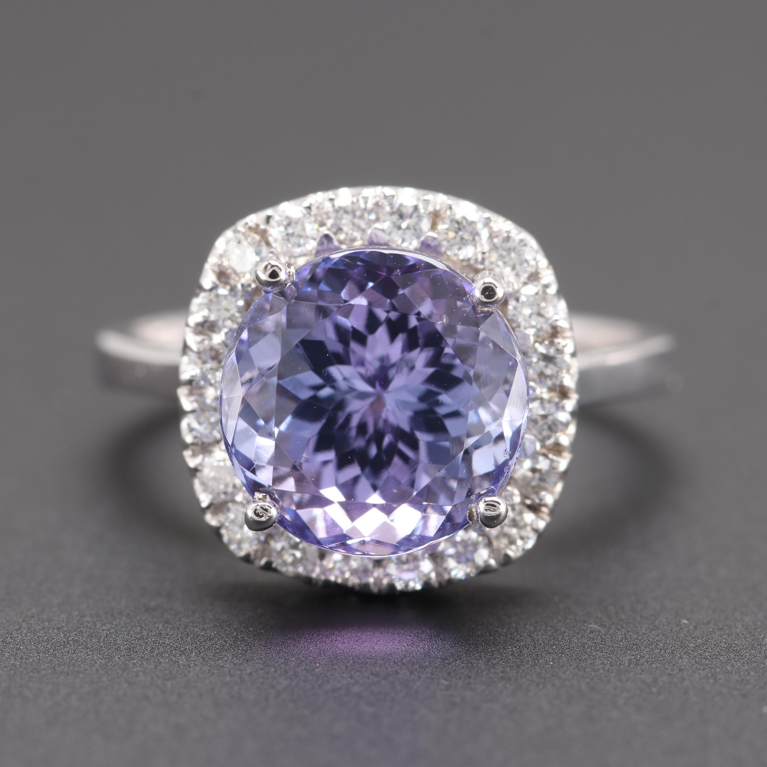14K White Gold 5.09 CT Tanzanite and Diamond Ring