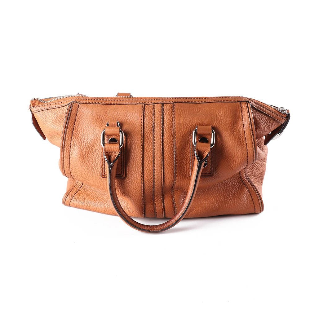 Milly Russet Tan Pebbled Leather Handbag