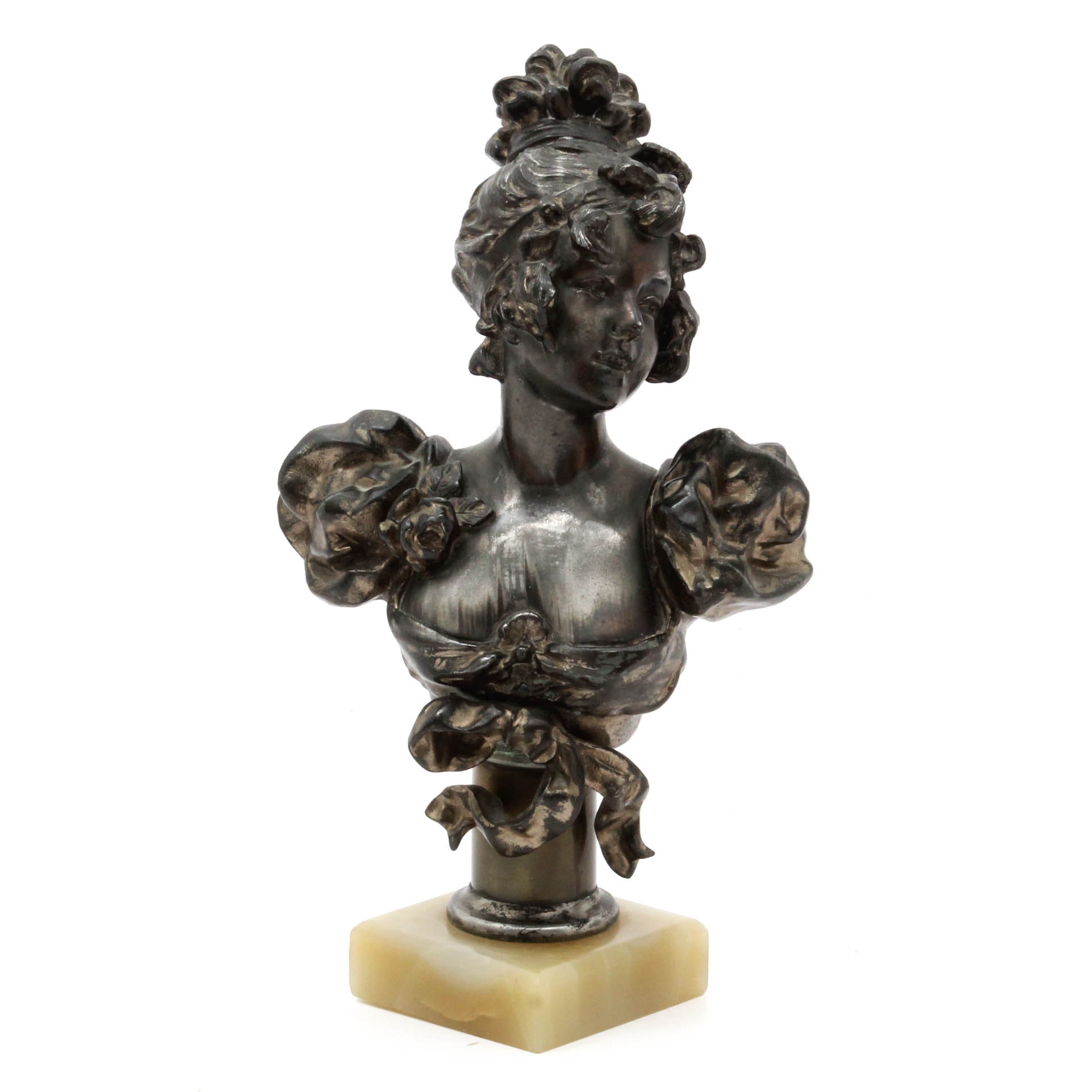 Vintage Cast Spelter Bust of Young Woman