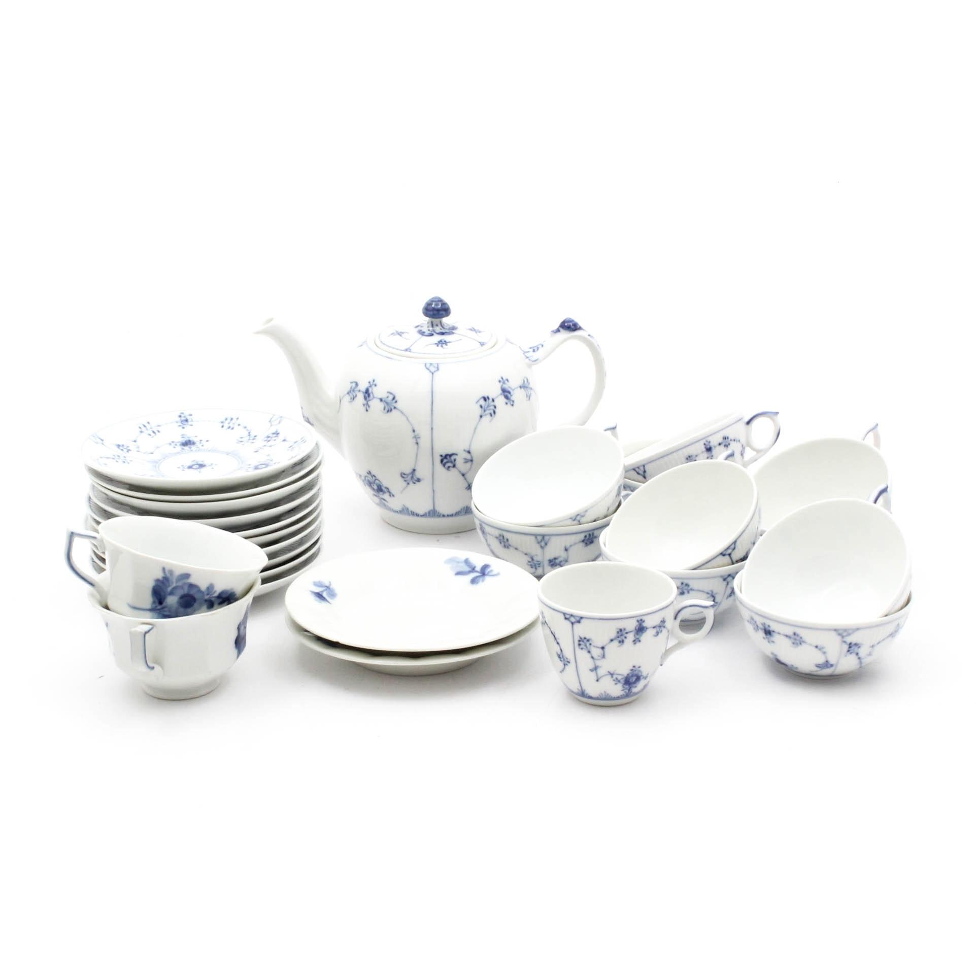 Royal Copenhagen Porcelain Tea and Saucer Assortment
