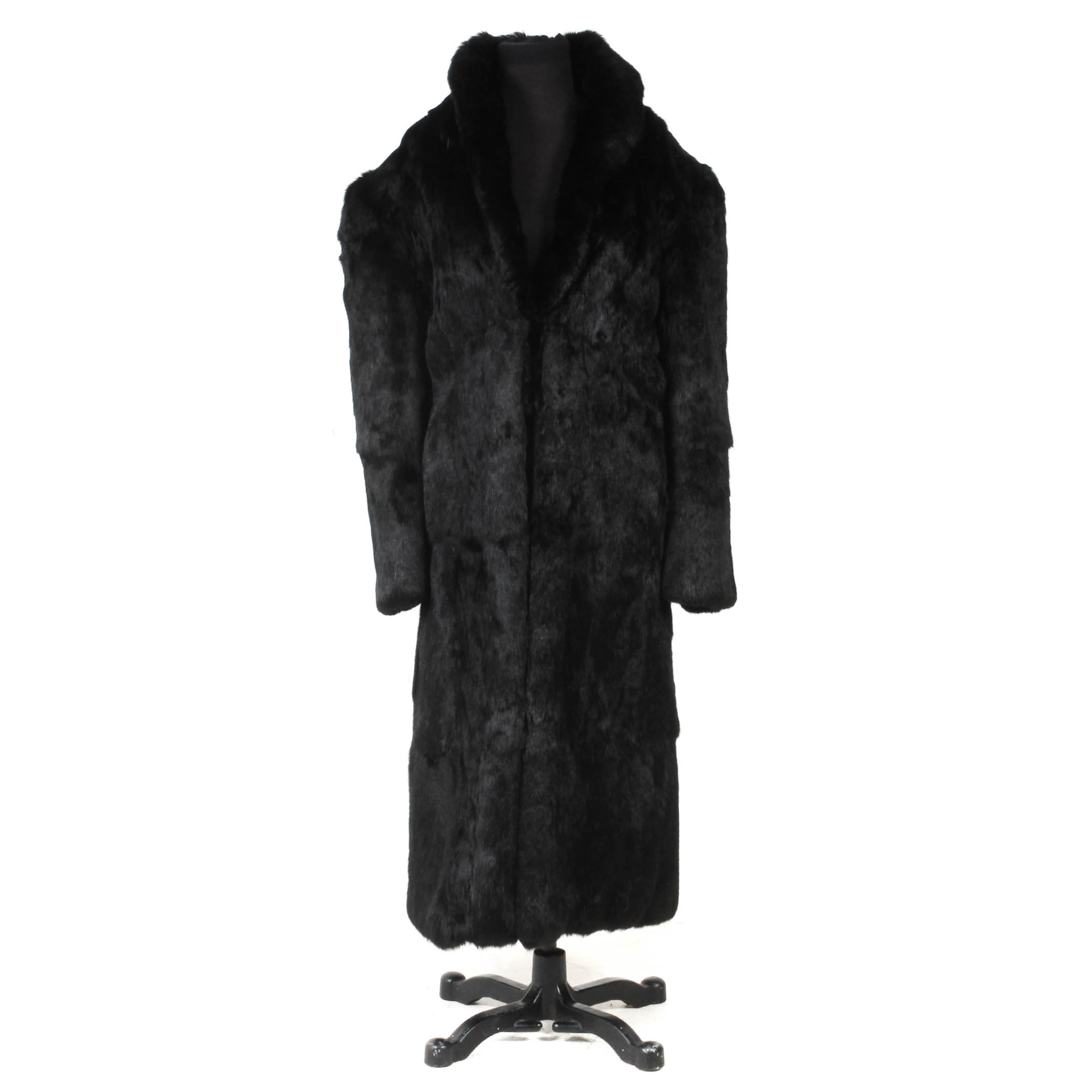 Black Full Skin Rabbit Fur Coat