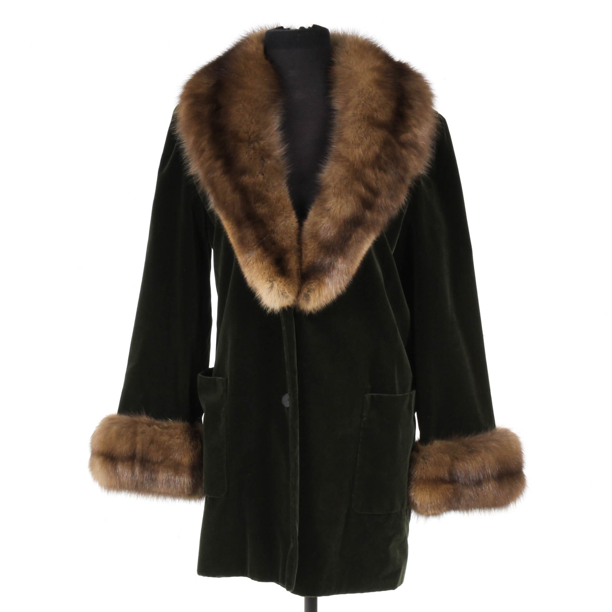 Vintage Bill Blass Velvet and Sable Fur Coat from Saks Fifth Avenue