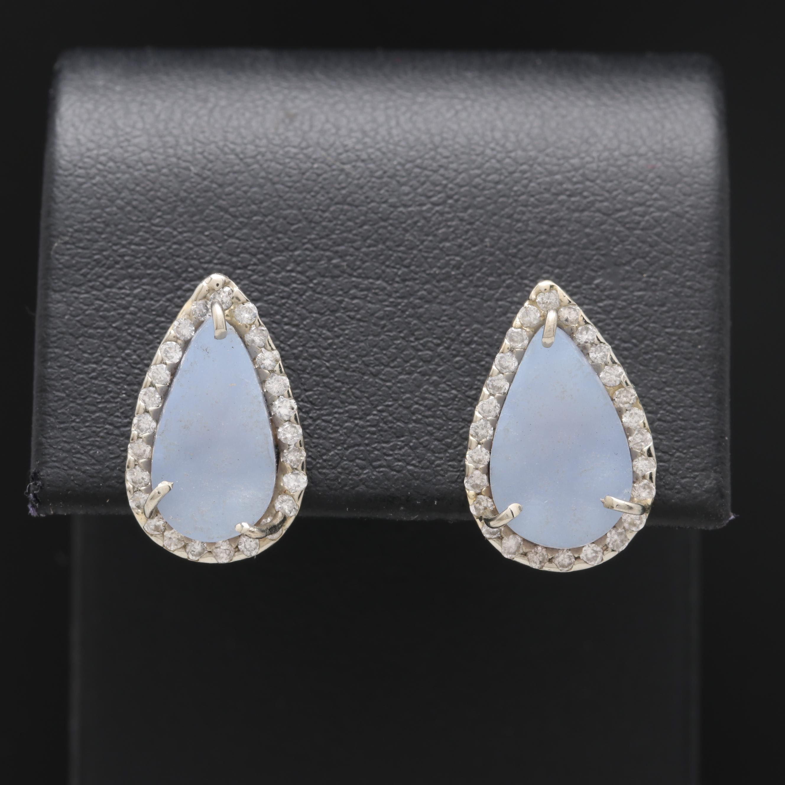18K White Gold Agate and Diamond Earrings