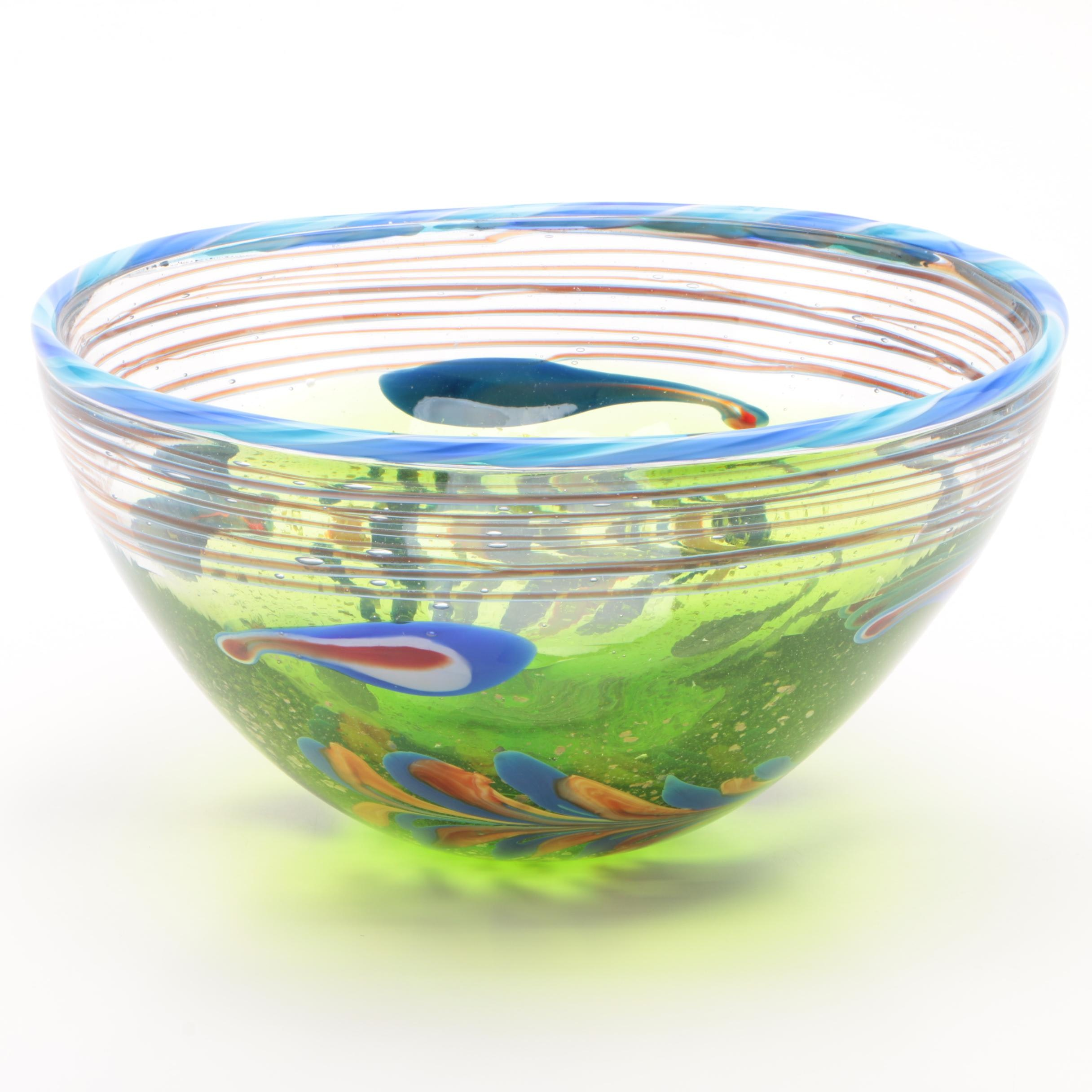 """Dale Tiffany """"Moss and Feather"""" Glass Bowl"""