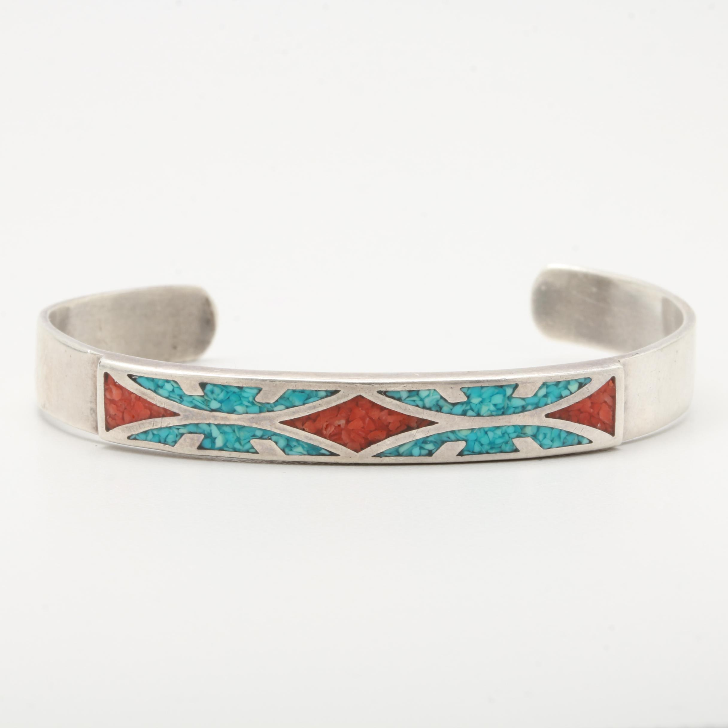 Sterling Silver Chipped Turquoise and Coral Cuff Bracelet