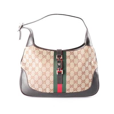 b2dda9150f1 Vintage Gucci Jackie GG Shelly Line Hobo Bag