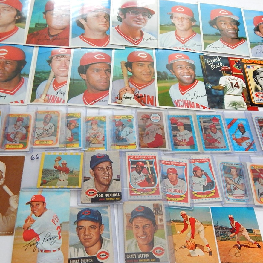 Vintage Cincinnati Reds Baseball Card Collection With Kelloggs Cards