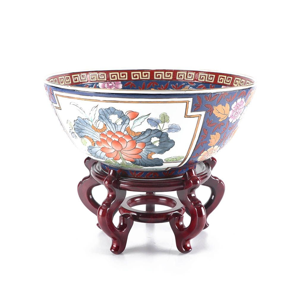 "Chinese ""Rose Medallion"" Style Porcelain Bowl on Stand"