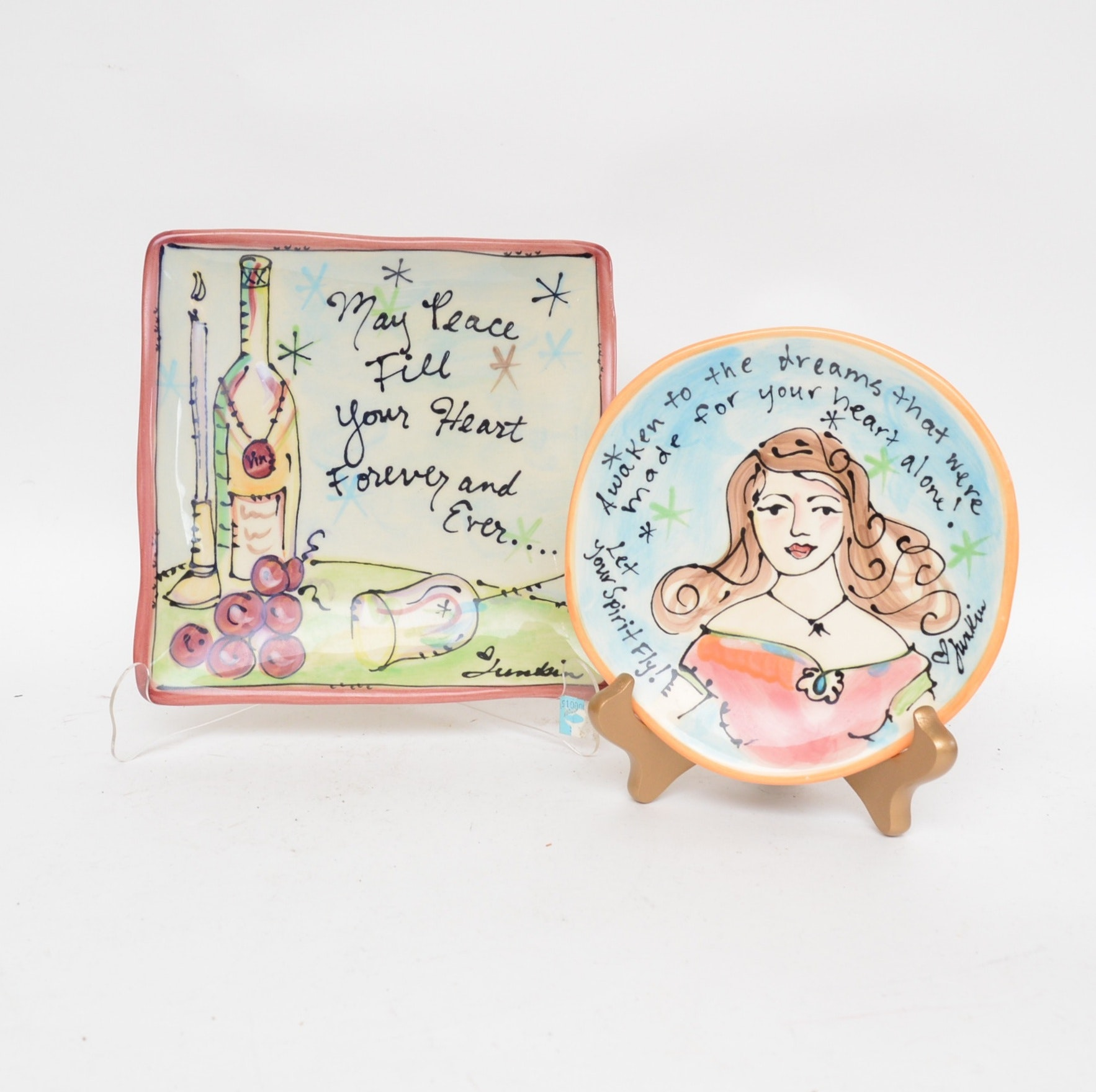 Hand-Painted Ceramic Plates by Julia Junkin