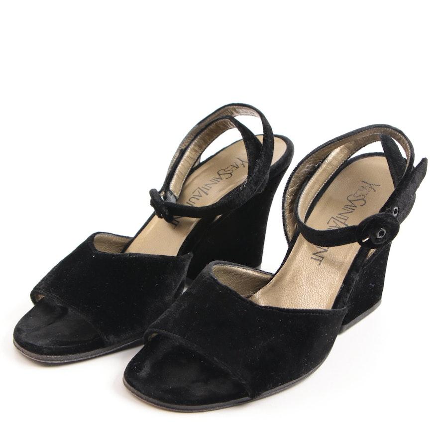 4f5e31e6db91 Vintage Yves Saint Laurent Romeo Black Velvet Wedge Sandals
