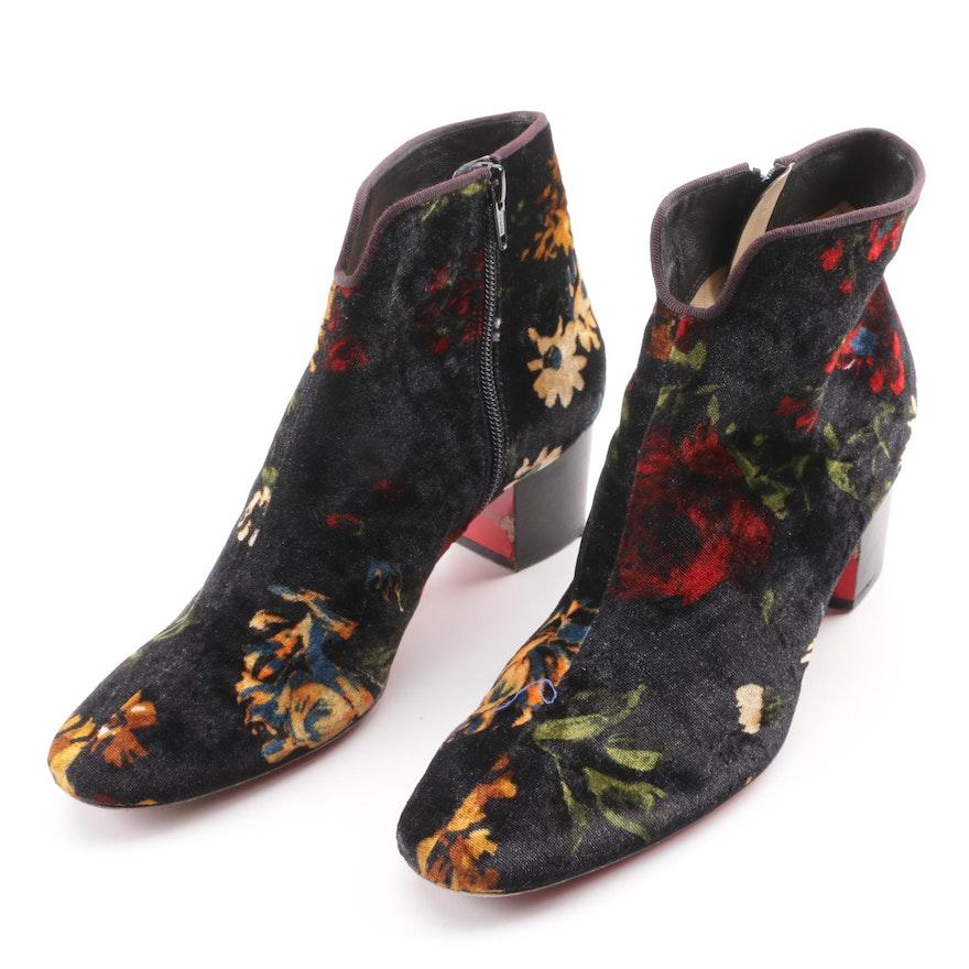 34868172f82 Christian Louboutin Disco Floral Print Velvet Ankle Booties   EBTH