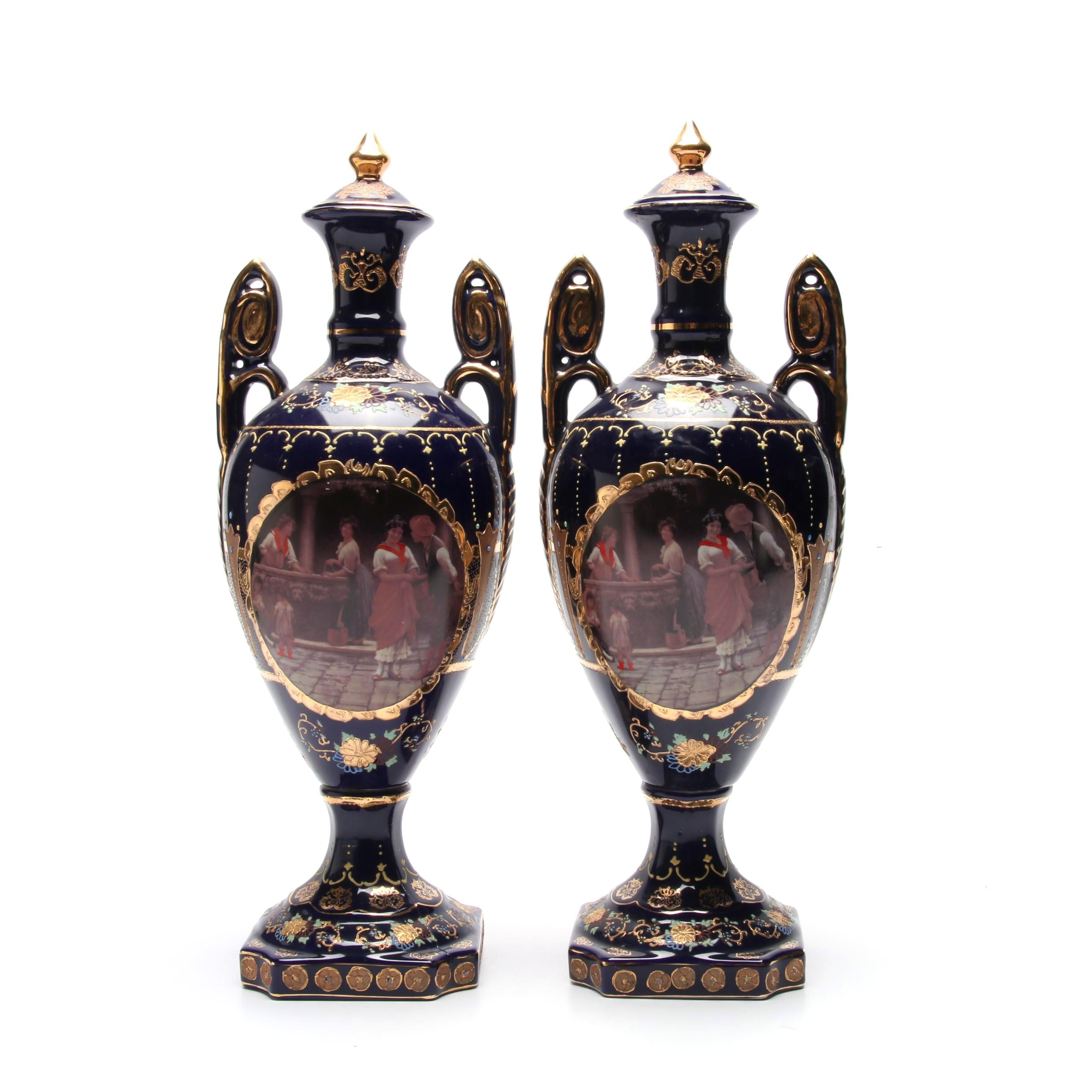 Pair of Limoges Style Garniture Vases
