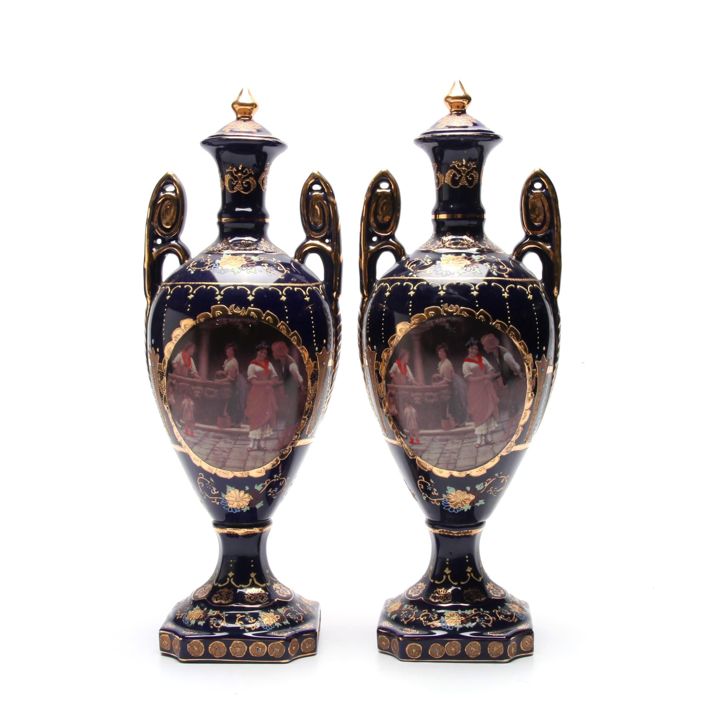 Pair of Limoges Style Garniture Vases