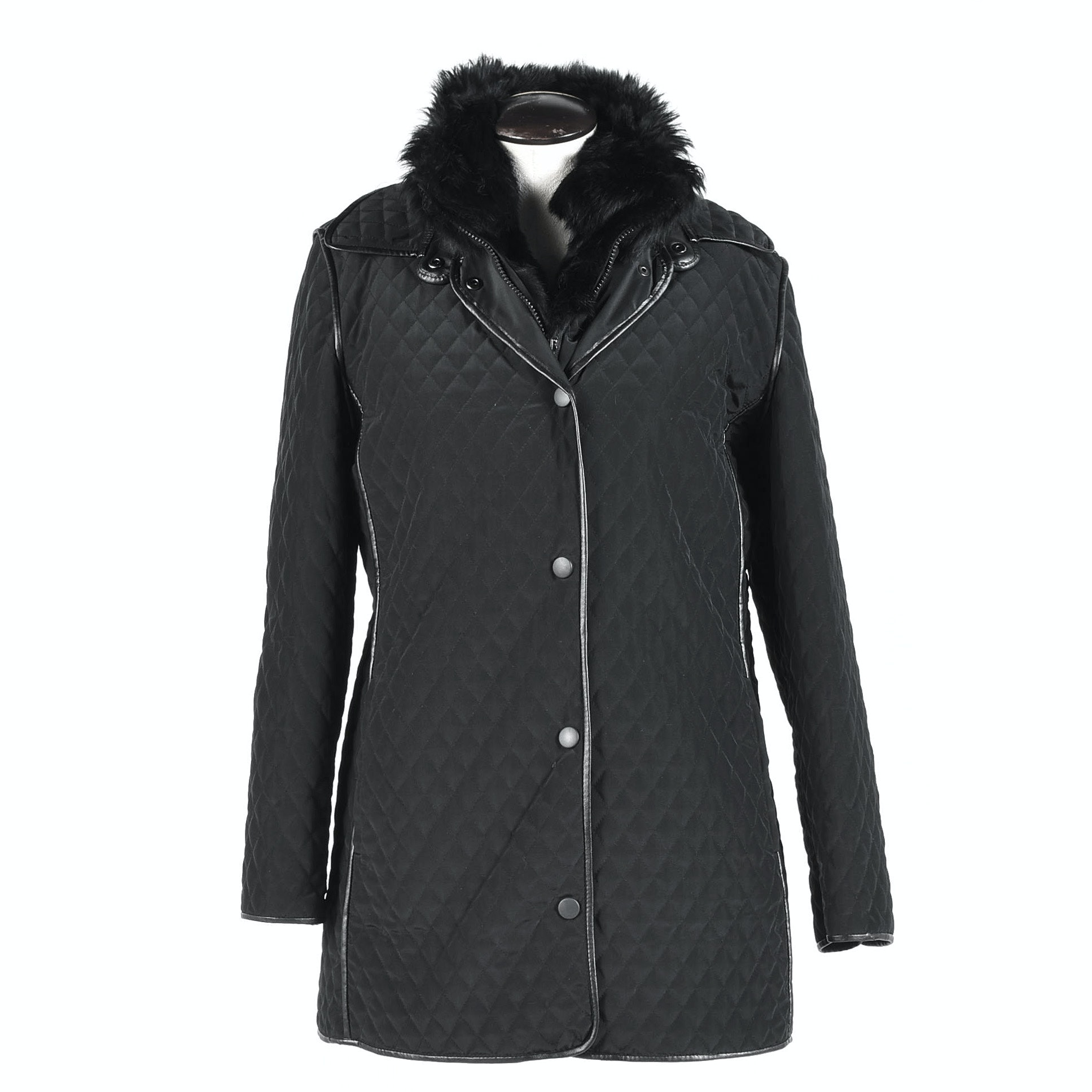 Women's Hilary Radley Black Quilted Jacket with Removable Fur Lining