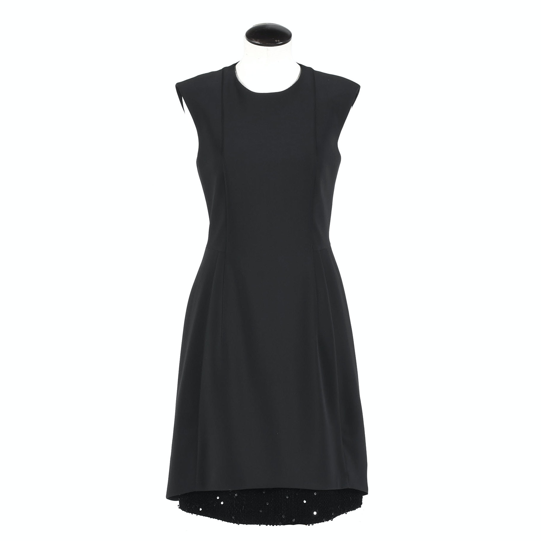 A-K-R-I-S Punto Black Sleeveless Cocktail Dress with Sequined Hemline Detail
