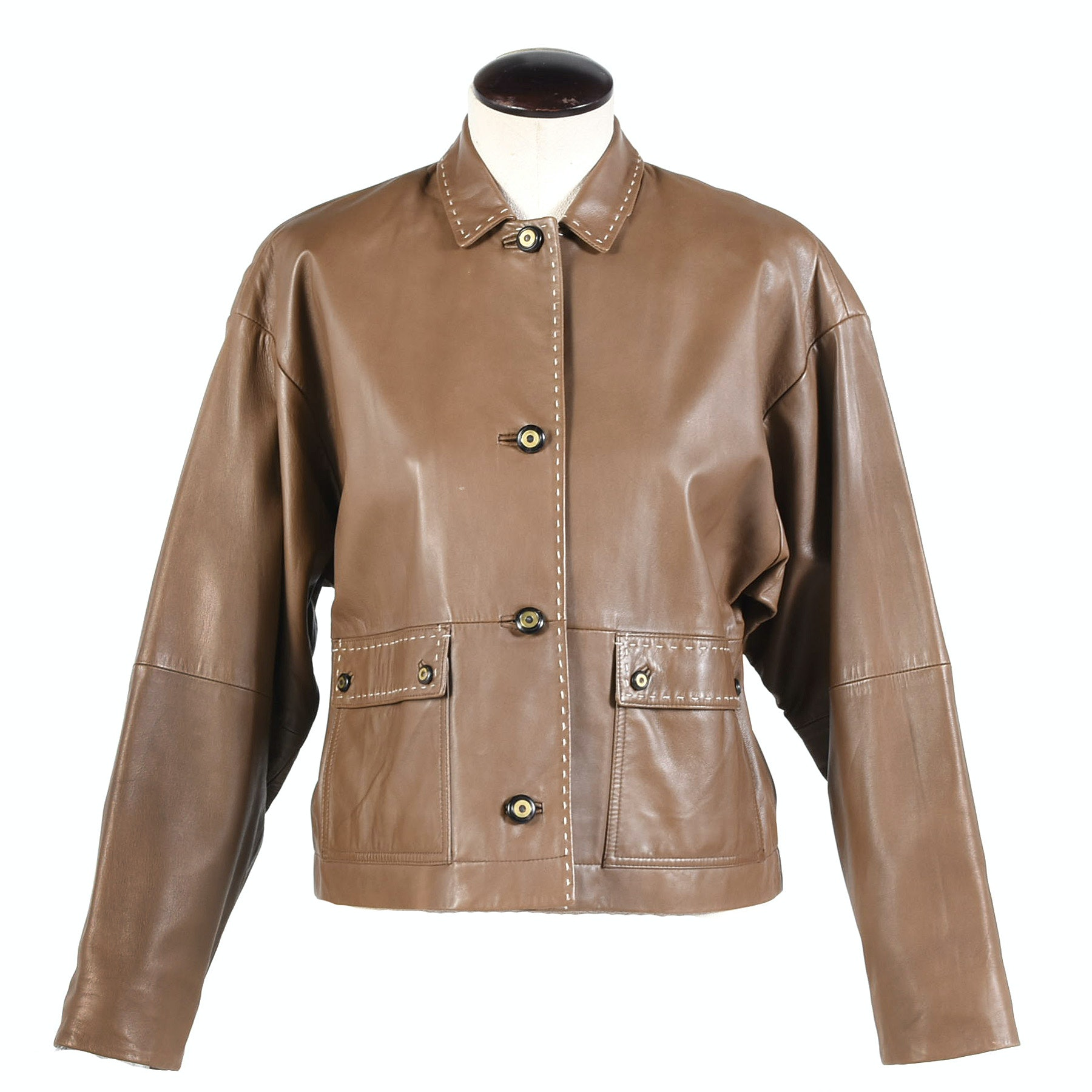 Women's Worth Taupe Leather Jacket with Top Stitched Detailing