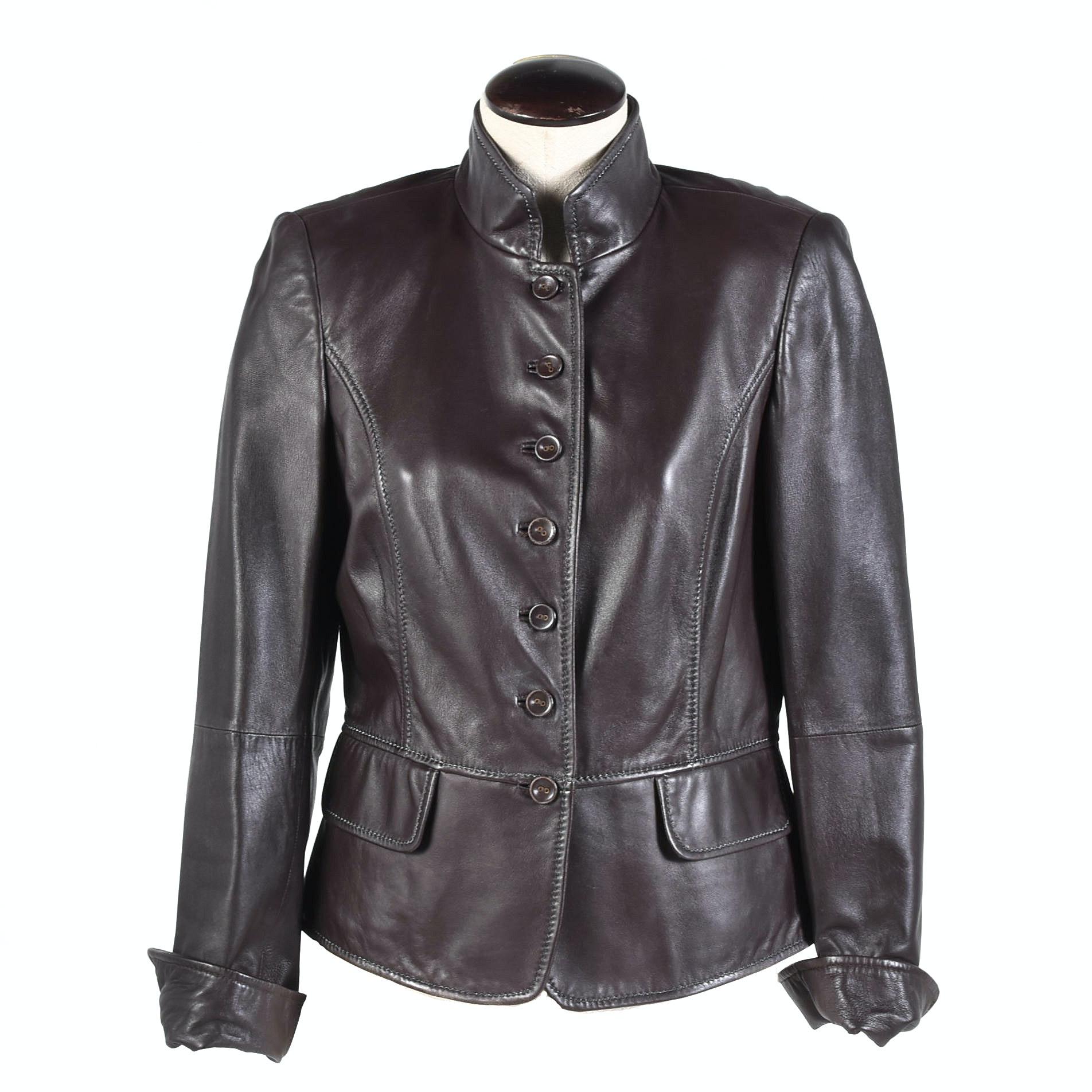 Women's Ellen Tracy for SFA Espresso Brown Leather Jacket