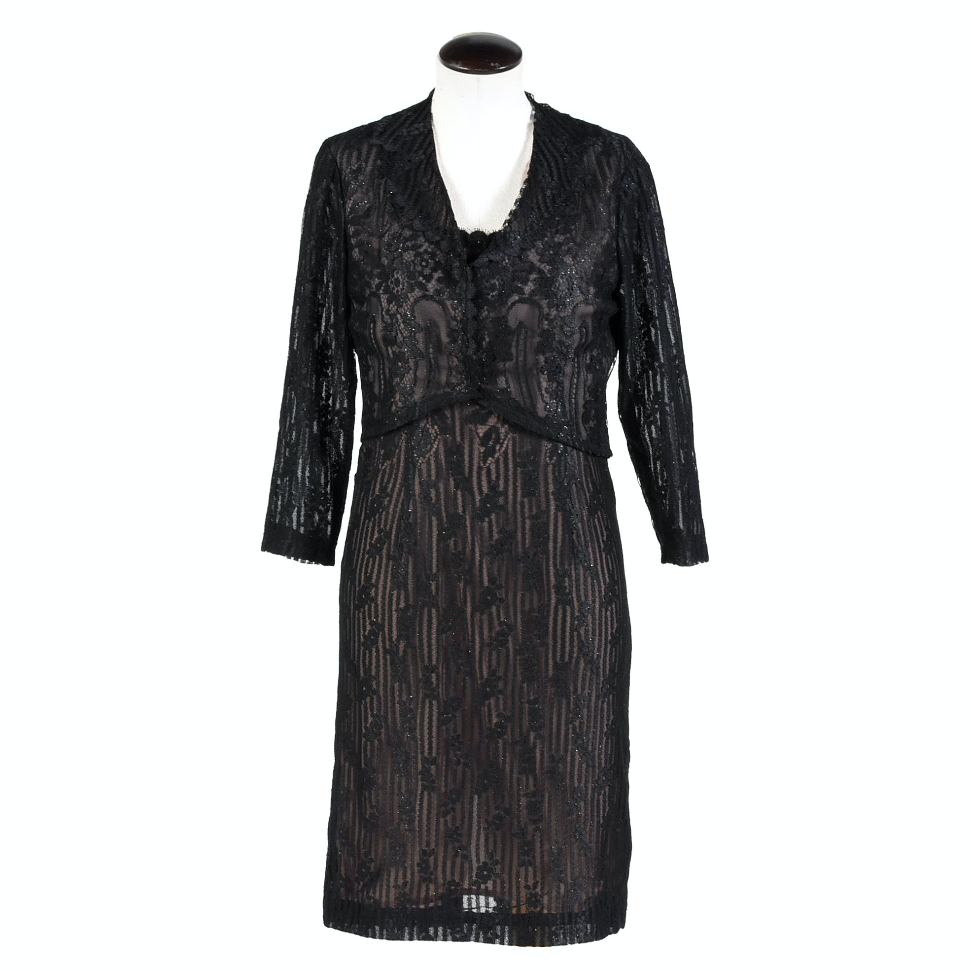 Worth Black Lace Sleeveless Cocktail Dress with Jacket