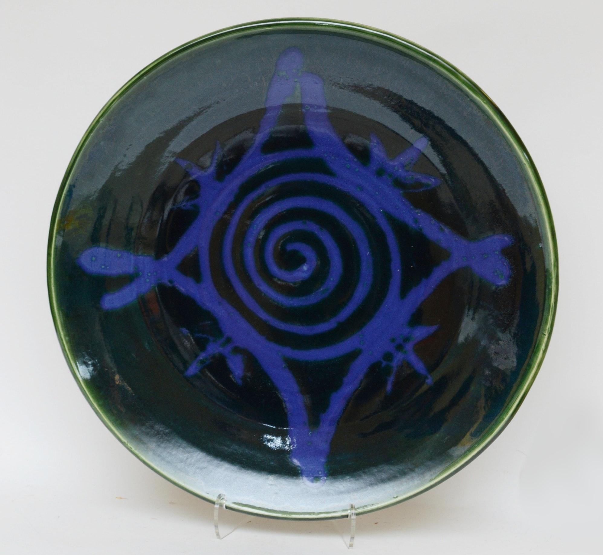 Signed Wheel Thrown Stoneware Serving Platter