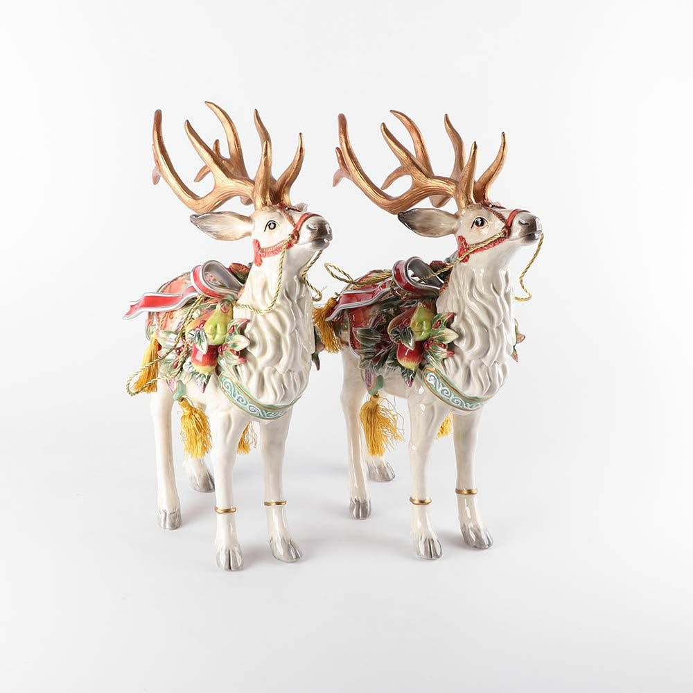 "Fitz and Floyd ""Enchanted Holiday"" Reindeer Figurines"