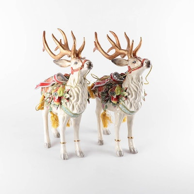 "Fitz and Floyd ""Enchanted Holiday"" Reindeer Figurines"