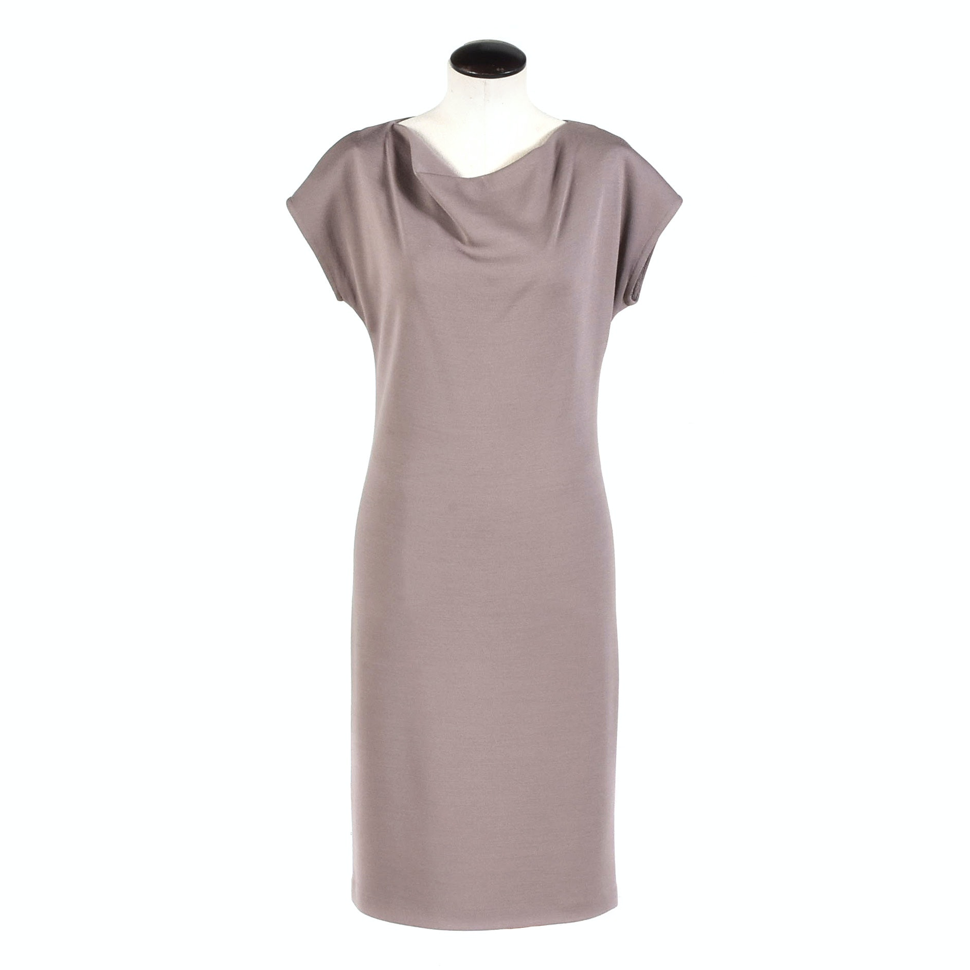 St. John Taupe Knit Sheath Dress with Draped Neckline