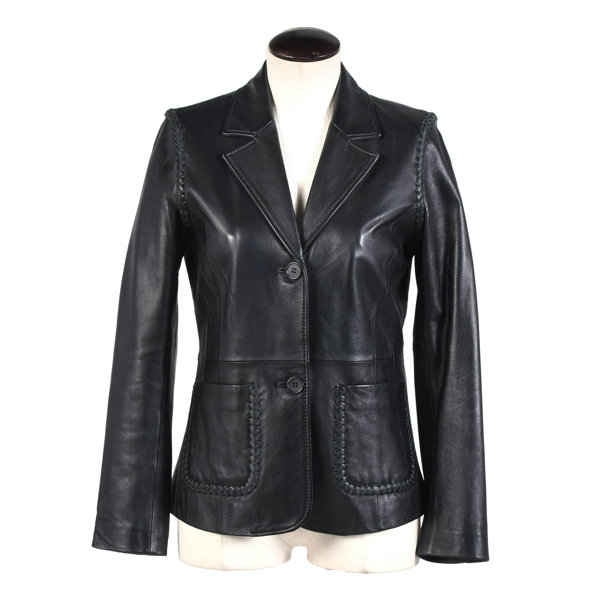 Women's Rem Garson Black Leather Jacket with Braided Detailing