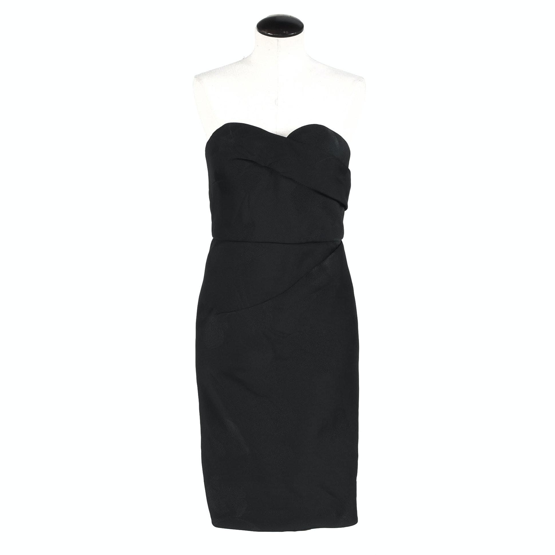 Oscar de la Renta Black Strapless Cocktail Dress