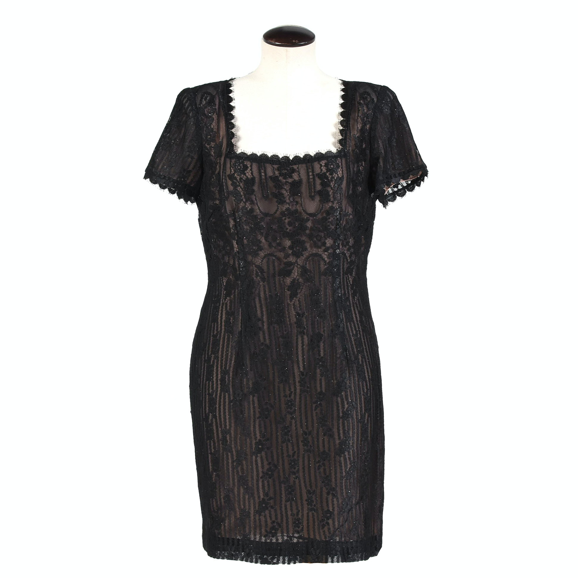 Worth Black Lace Cocktail Dress